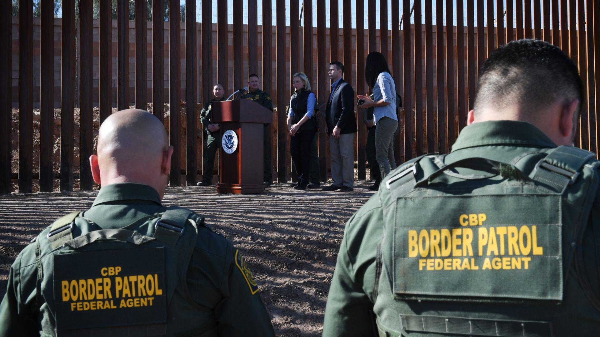 Kirstjen Nielsen giving a press conference at southern border