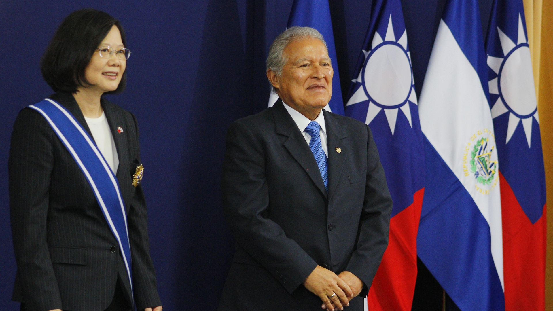 Tsai Ing-wen President of Taiwan (L) and Salvador Sanchez Ceren (R) President of El Salvador pose for the media