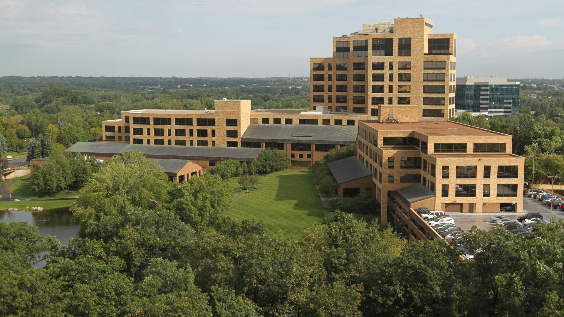 A group of buildings surrounded by trees, the UnitedHealth Group headquarters.