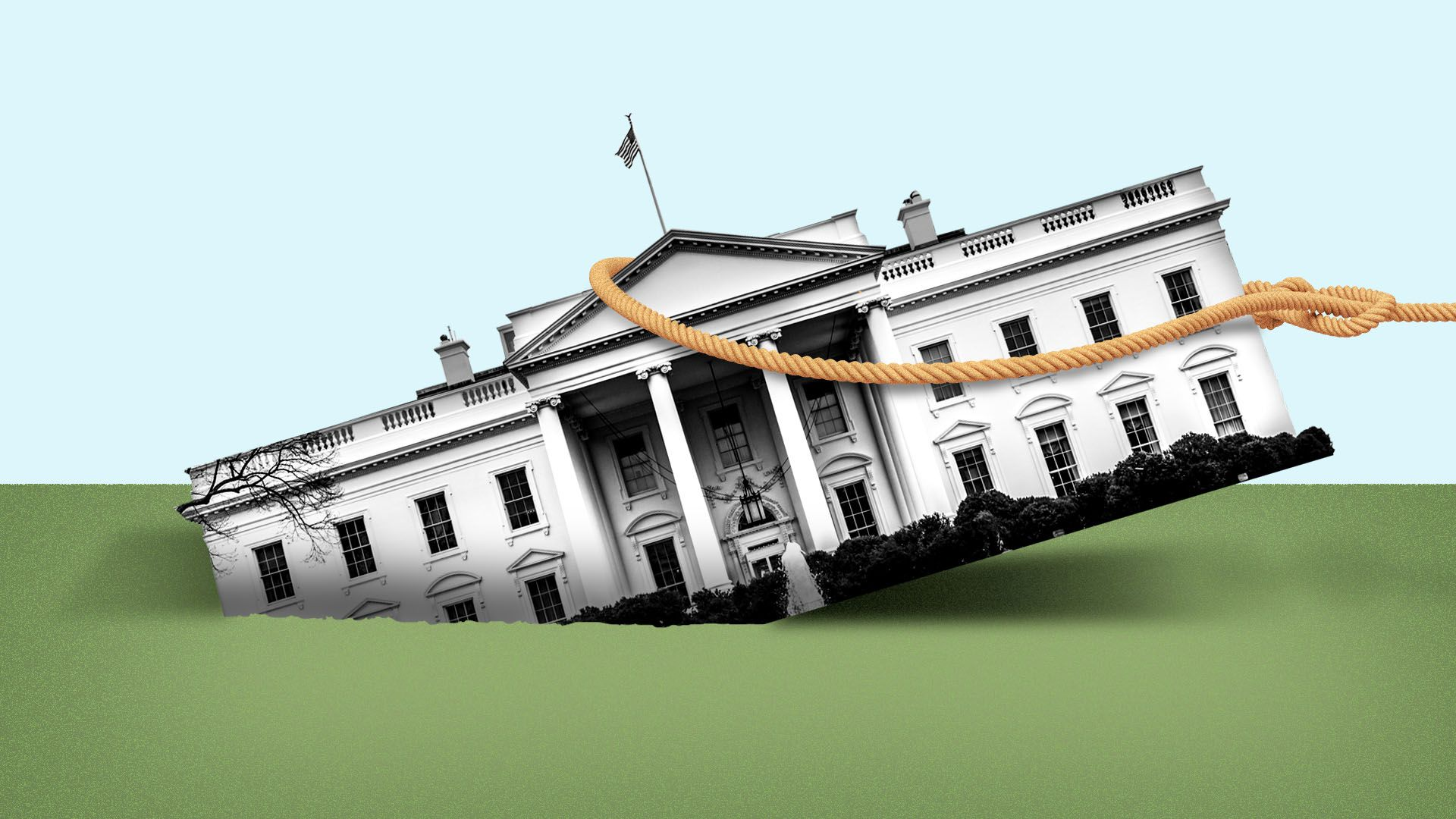 Illustration of the White House sinking into the ground, with a rope trying to pull it out