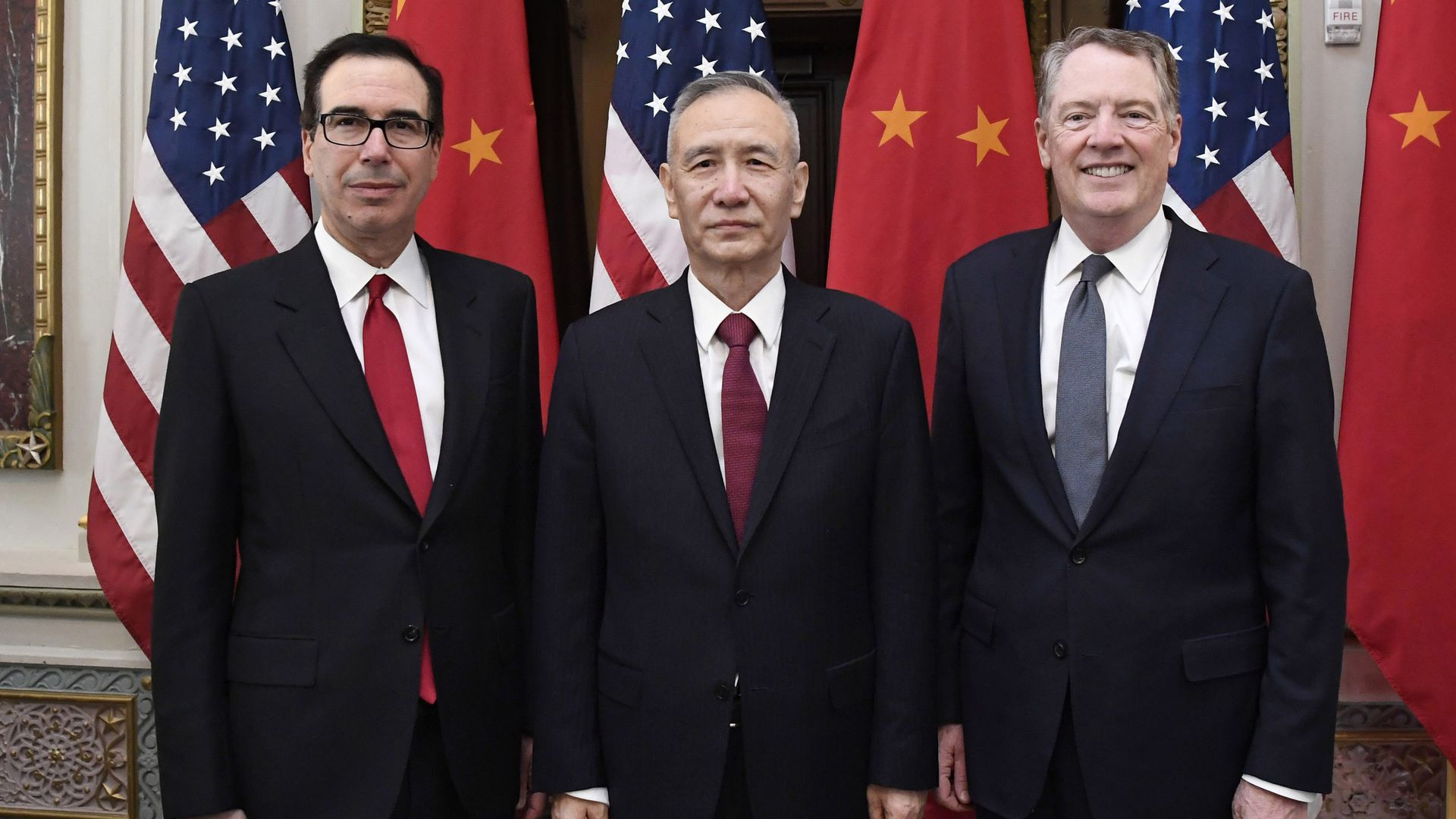Photo of China's Liu He and U.S.' Lighthizer and Mnuchin for trade talks