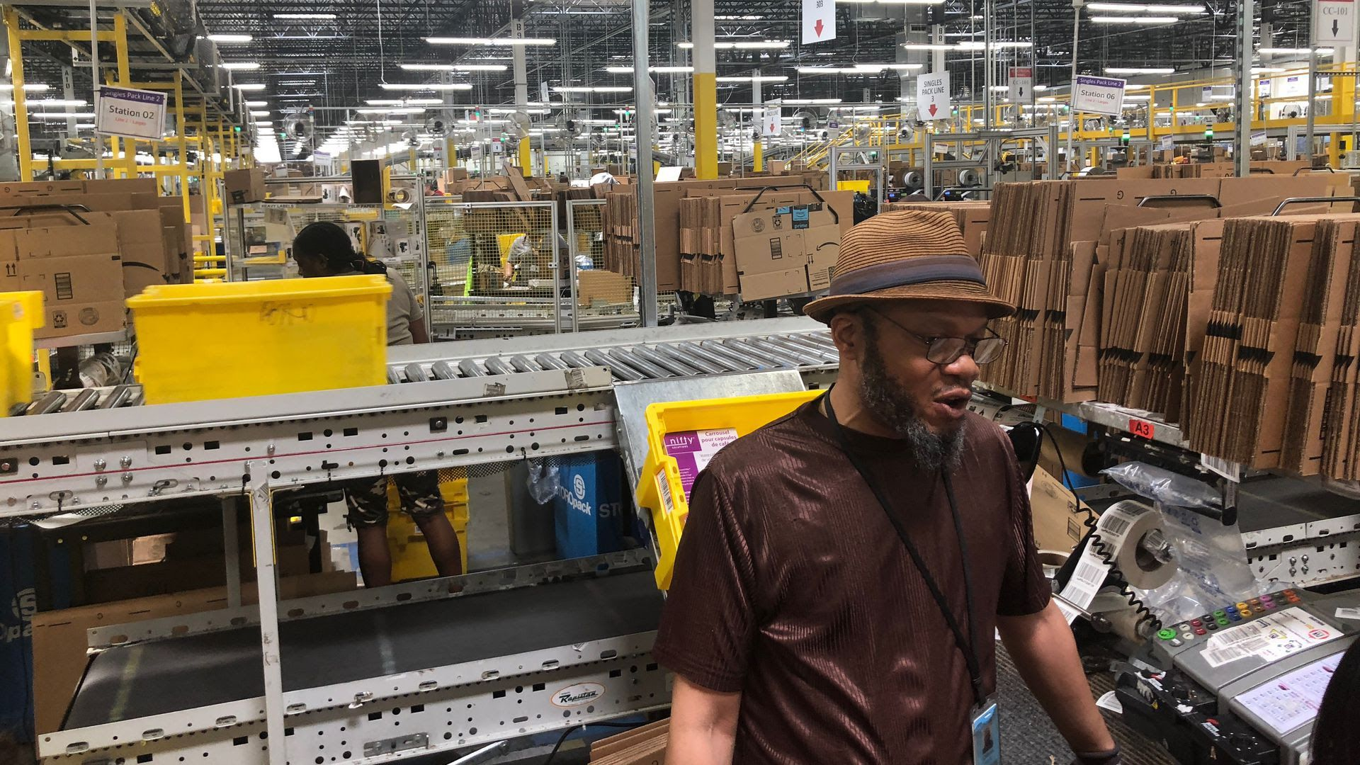 A worker at an Amazon warehouse in Baltimore