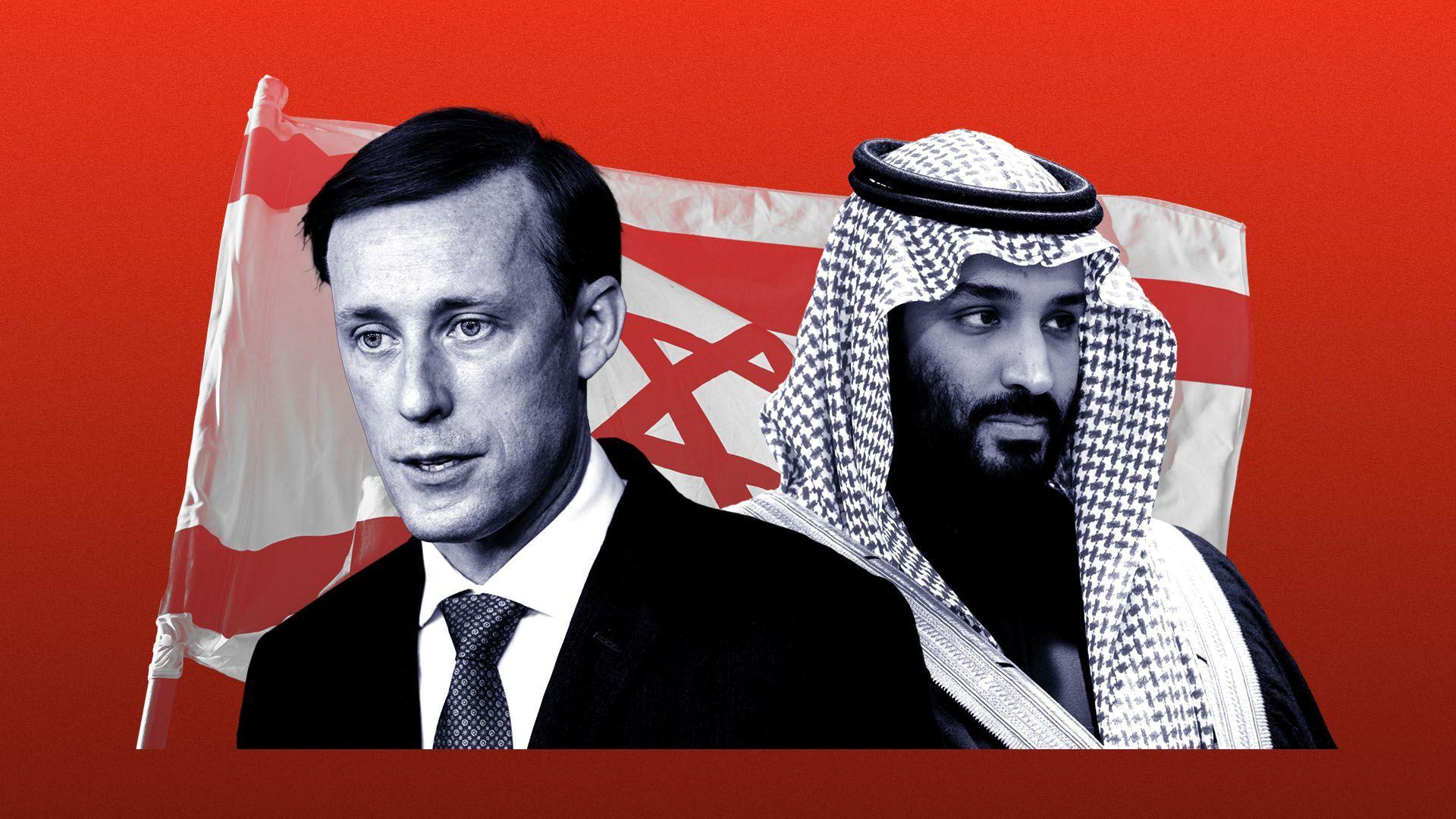 Photo illustration of Jake Sullivan and Prince Mohammed bin Salman Al Saud with an Israeli flag behind them