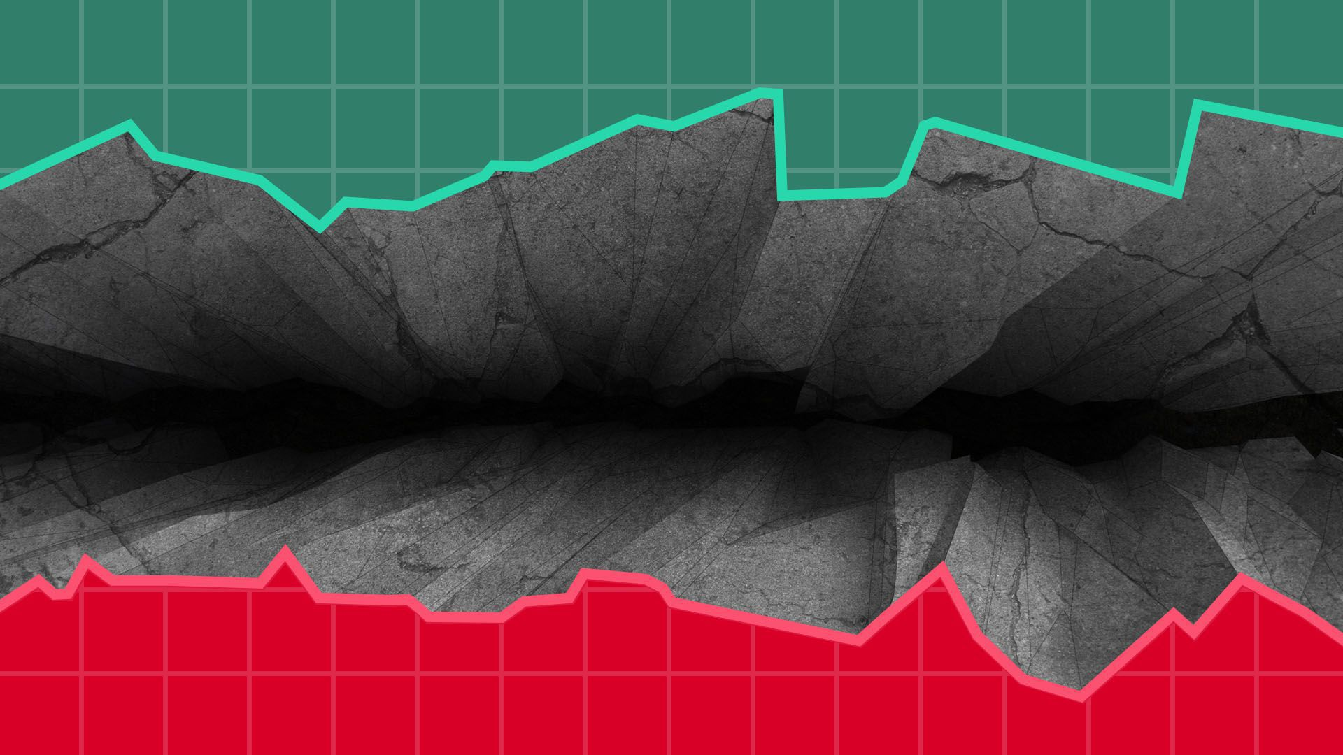 Illustration of market chart with chasm in the middle