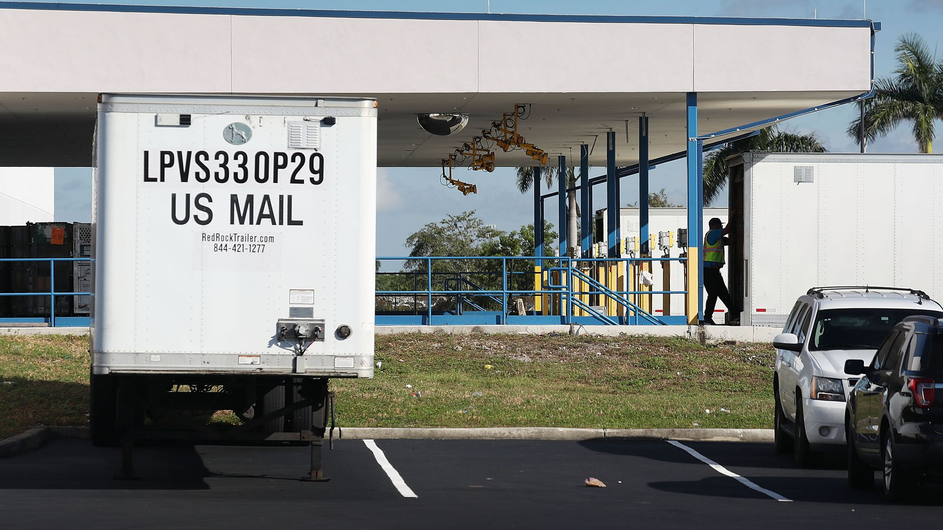 A U.S. mail truck at a mail facility in Florida.