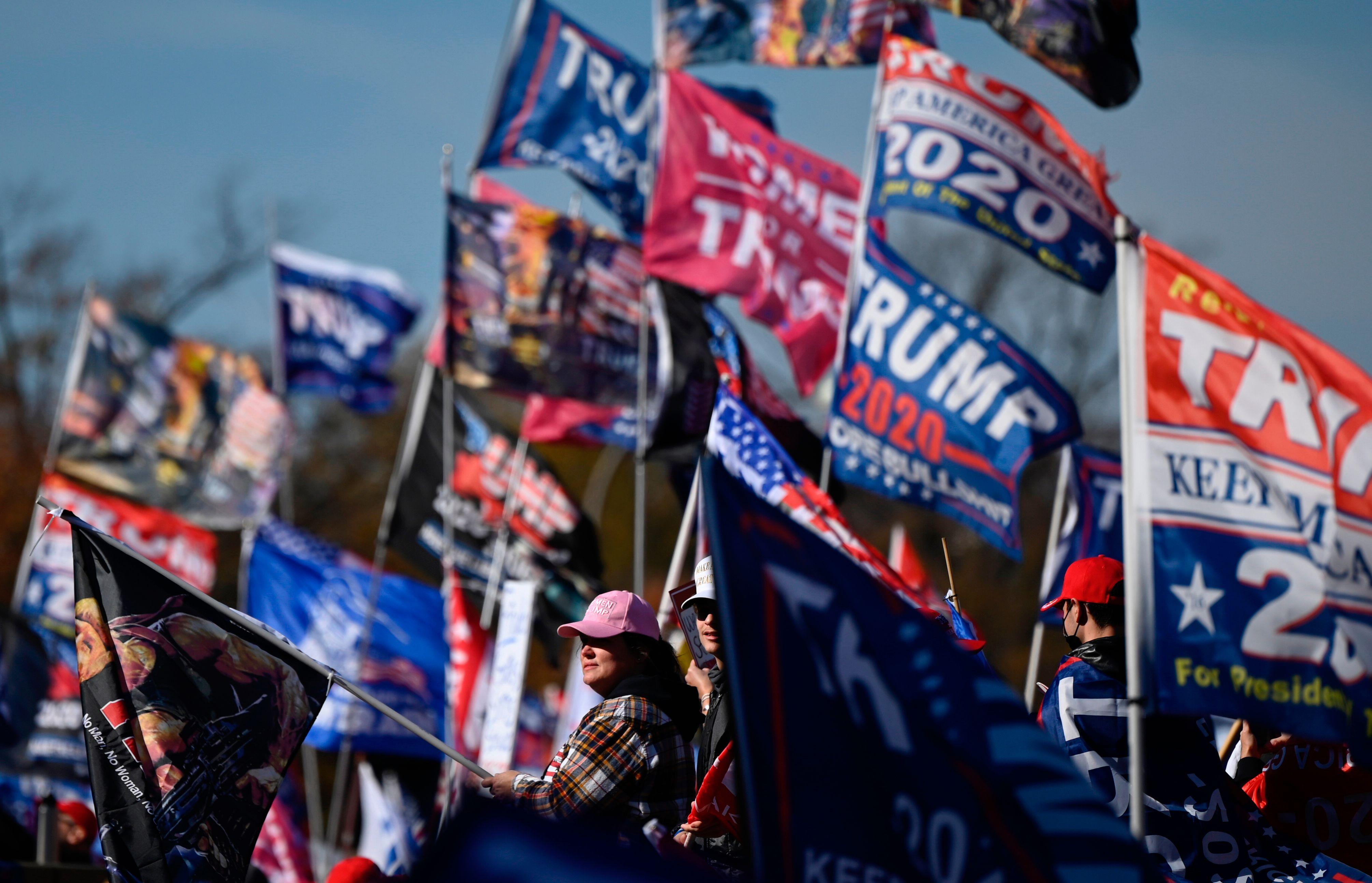 Les partisans de Trump agitant des drapeaux à Washington le 14 novembre.