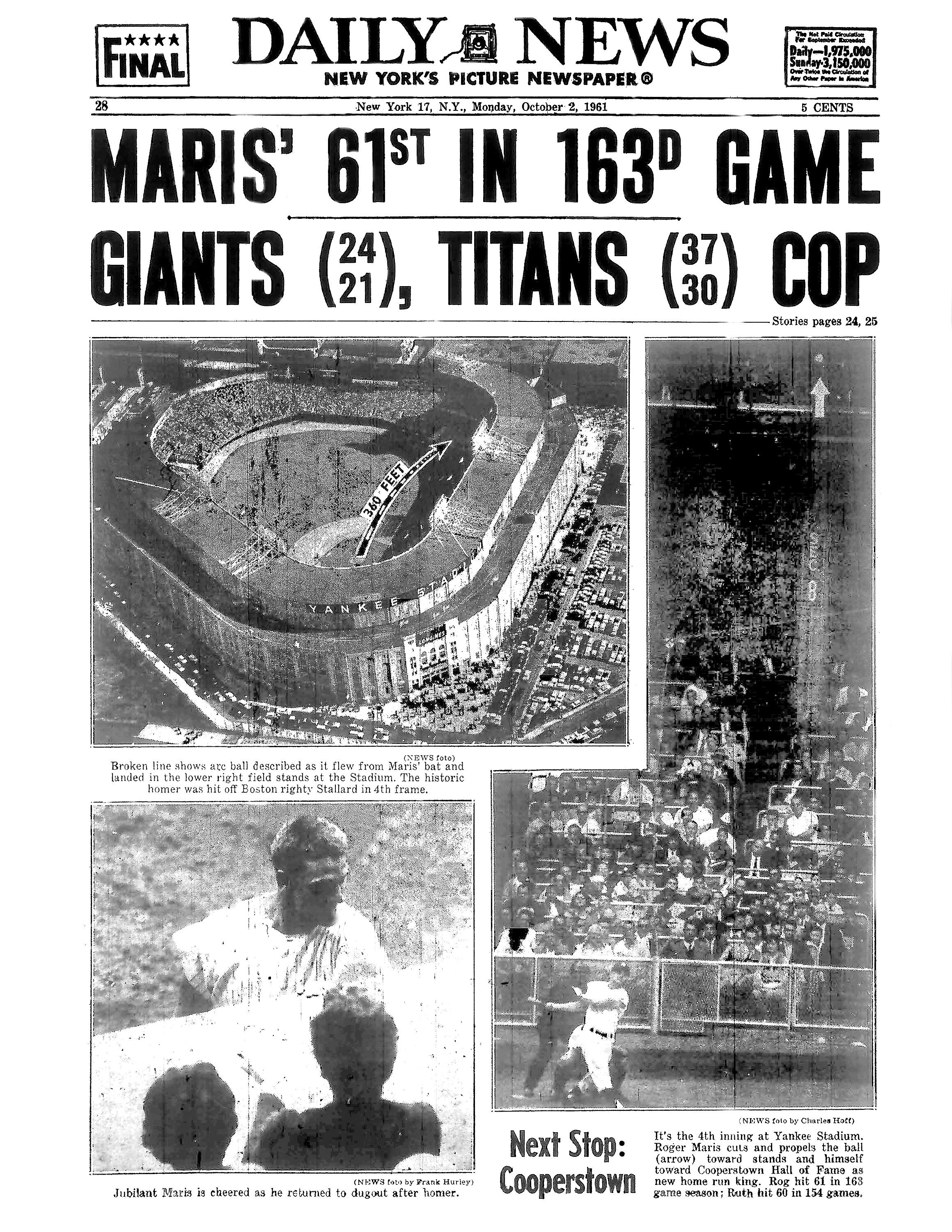Newspaper cover after Maris hit No. 61