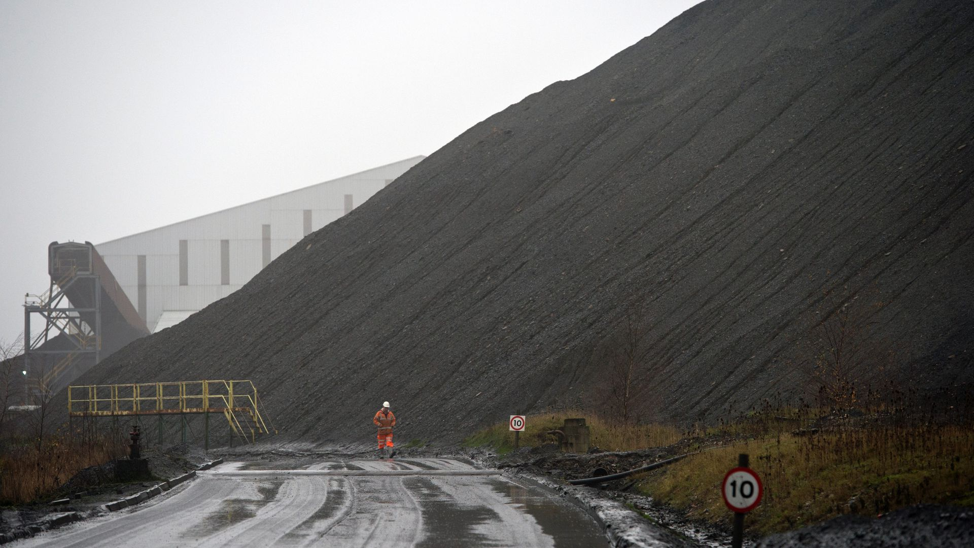 a slag heap at the entrance to Kellingley Colliery, the last deep coal mine operating in Britain near Knottingley, northern England