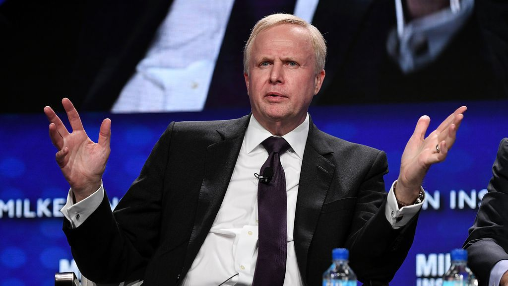 Photo of BP CEO Dudley speaking at a Milken Conference earlier this year.