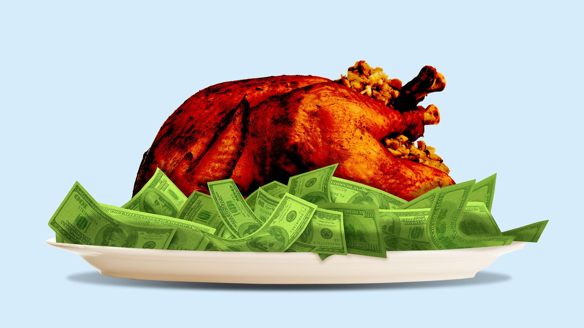 An illustration of a turkey in a bed of cash.
