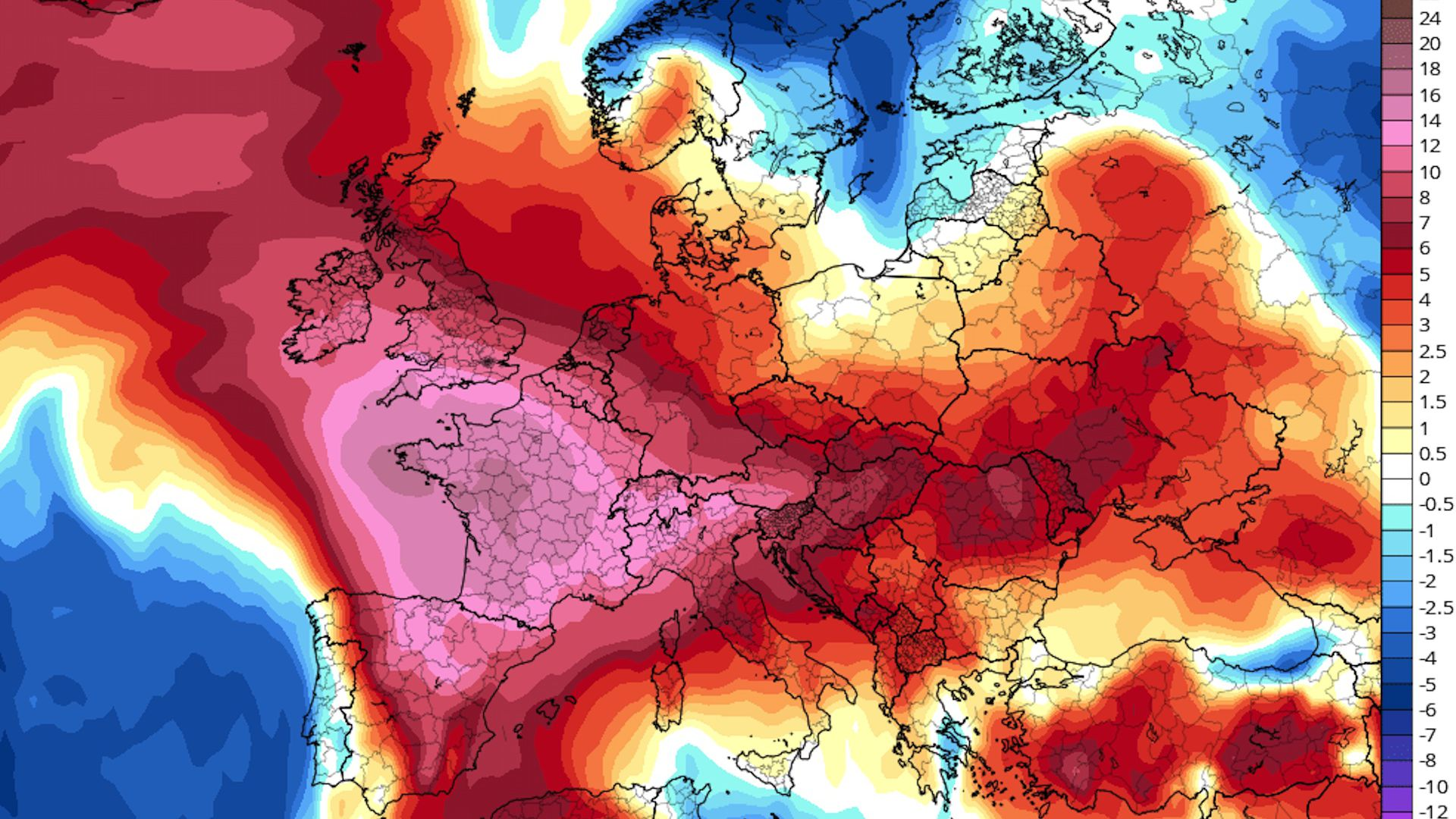 Computer model projection of temperature anomalies across Western Europe this week.