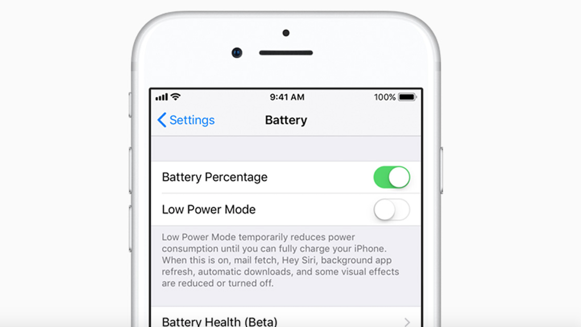 Apple's new battery settings