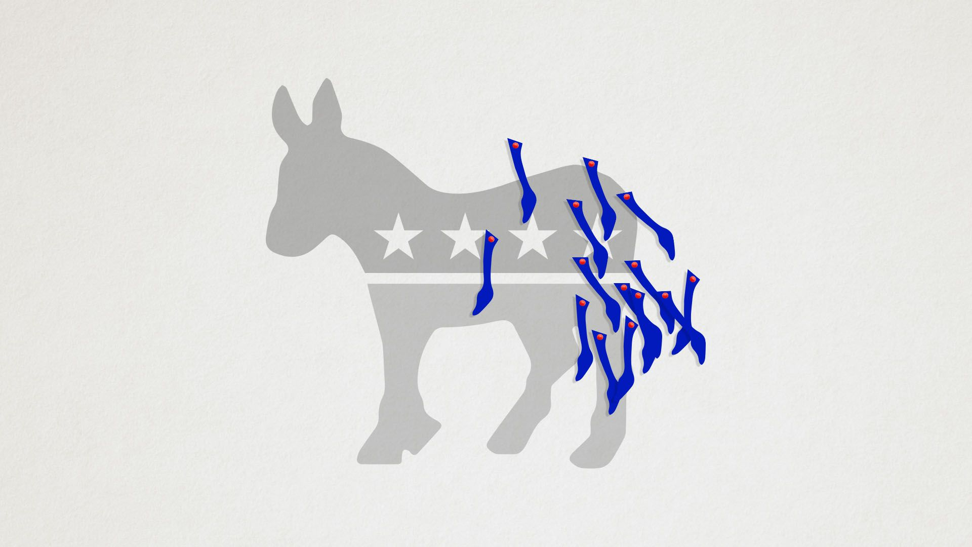 Illustration of pin the tail on the democratic donkey with lots of tails