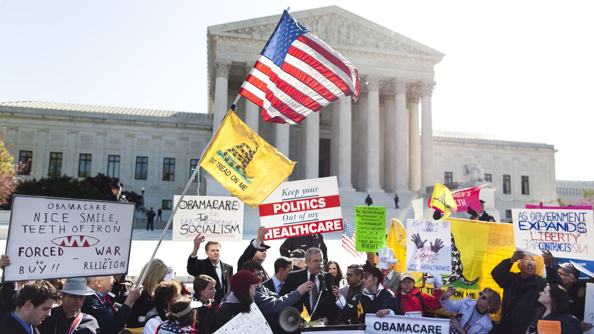 Protesters rally against the Affordable Care Act outside the Supreme Court in 2012
