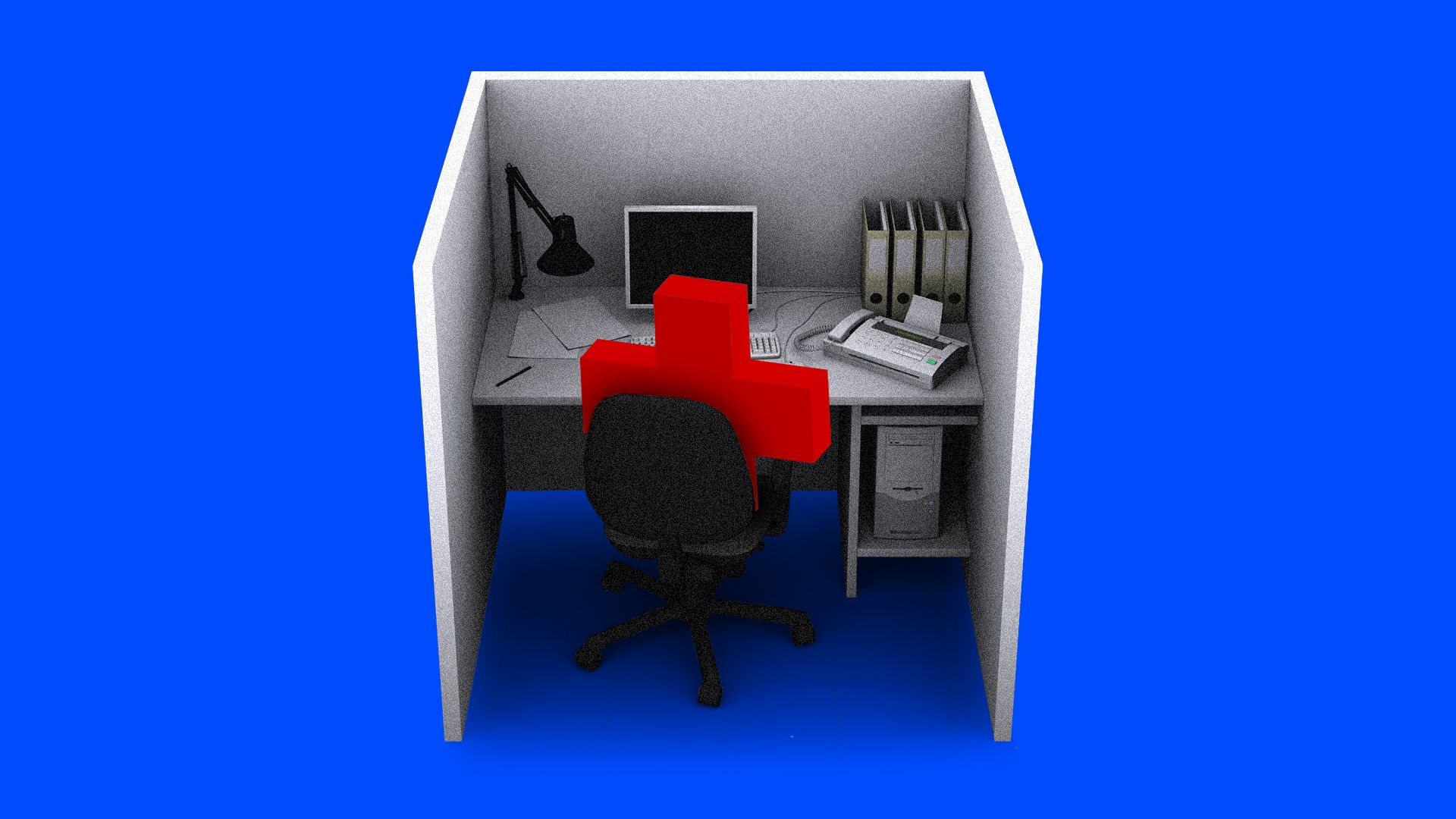 A red cross in a chair in a cubicle