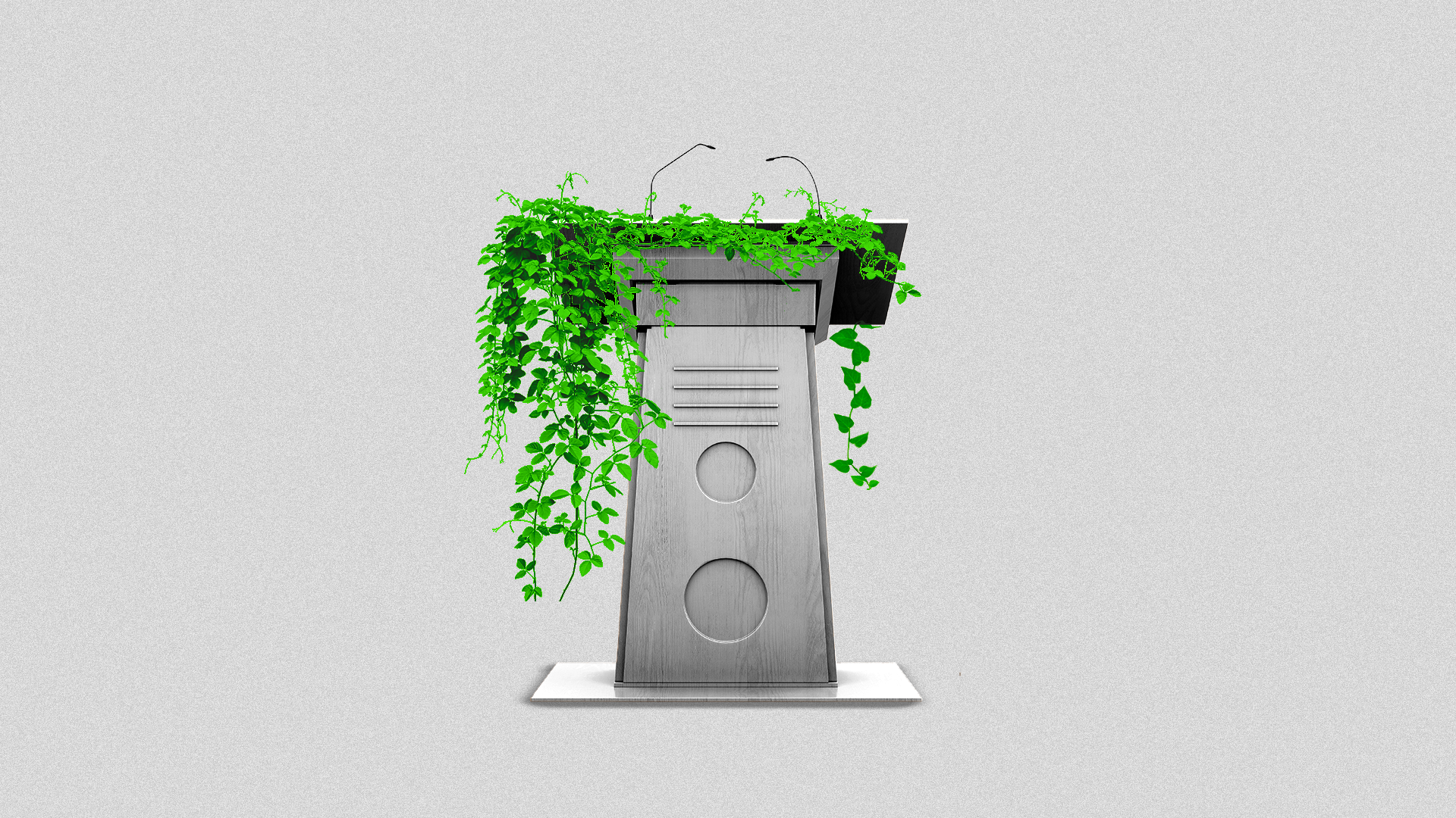 Illustration of a podium covered in vines.