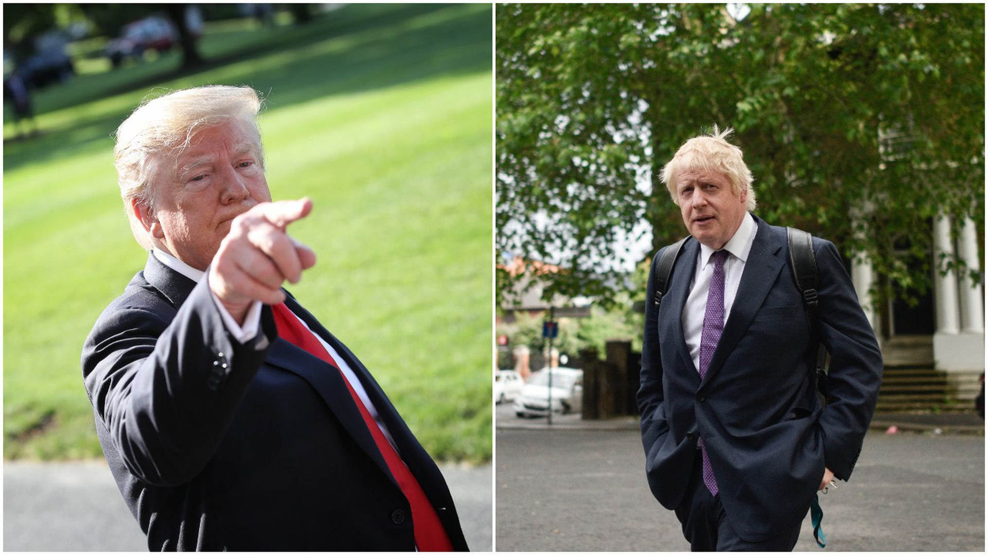 This image a split screen between Trump and Boris Johnson.