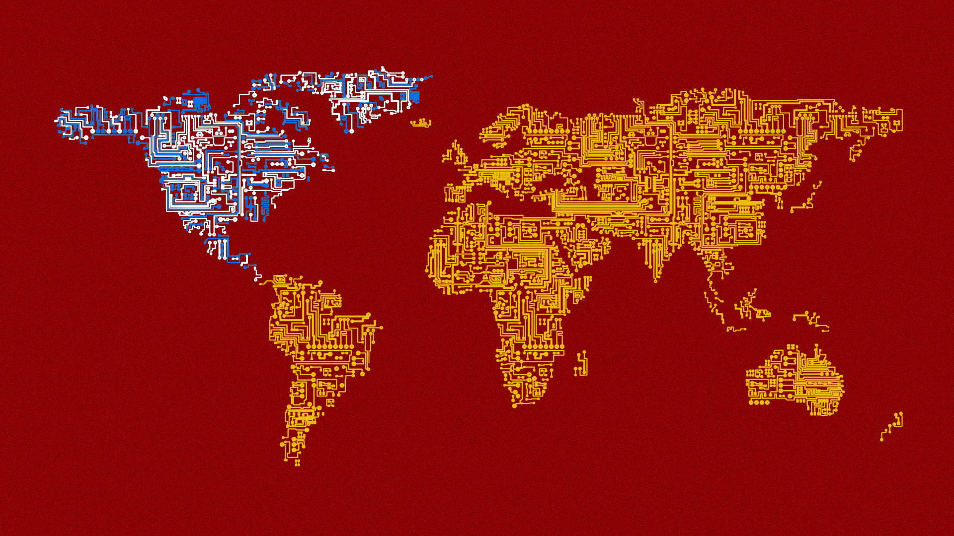 Illustration of the world as a circuitry map showing a Chinese presence in South America, Africa, Europe, Asia, and Australia, while only North America shows an American presence.