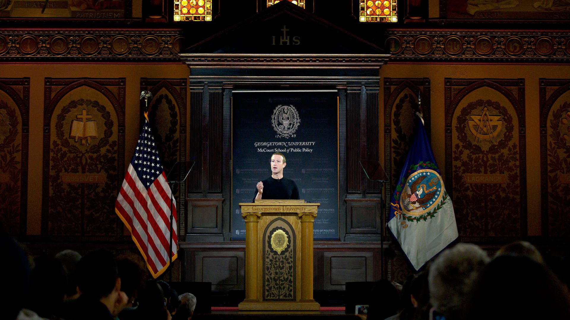 Mark Zuckerberg speaking to students at Georgetown