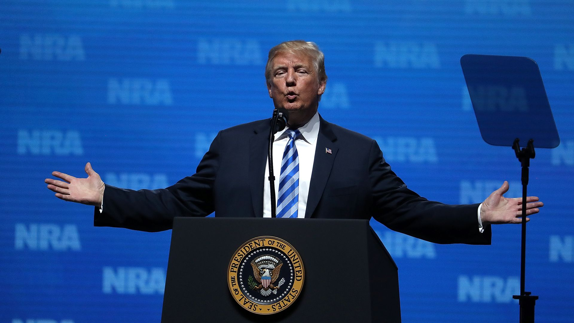 President Trump delivering a speech to the NRA
