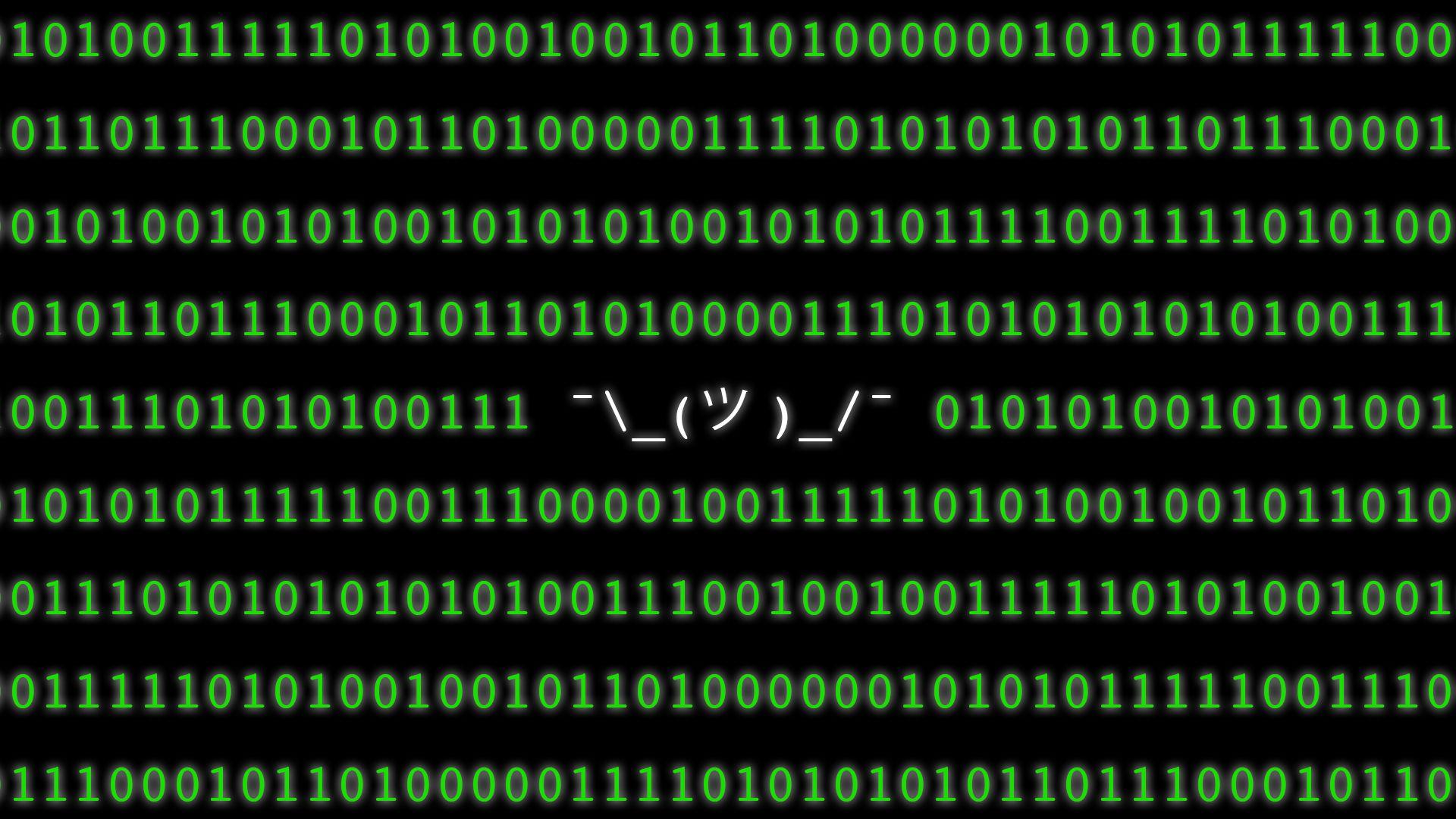 Illustration of binary code with the shrugging ascii art, ¯\_(ツ )_/¯