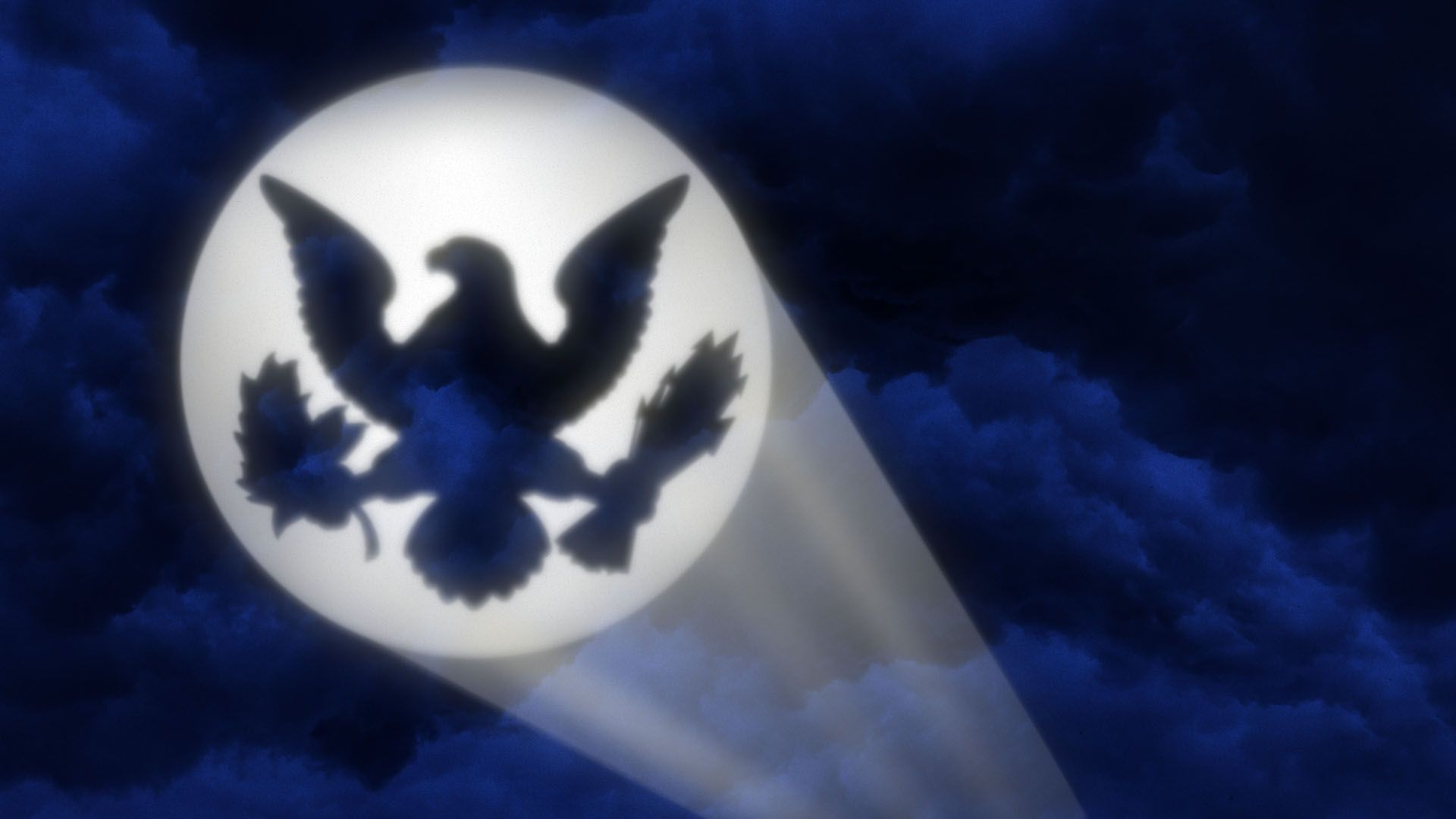 Illustration of the bat signal with the Presidential sea