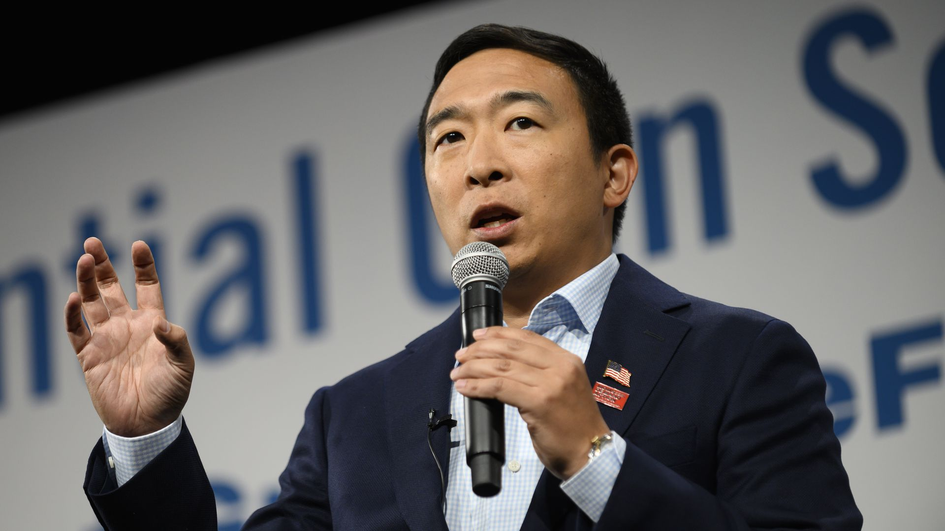 Democratic presidential candidate Andrew Yang speaks during a forum on gun safety at the Iowa Events Center on August 10