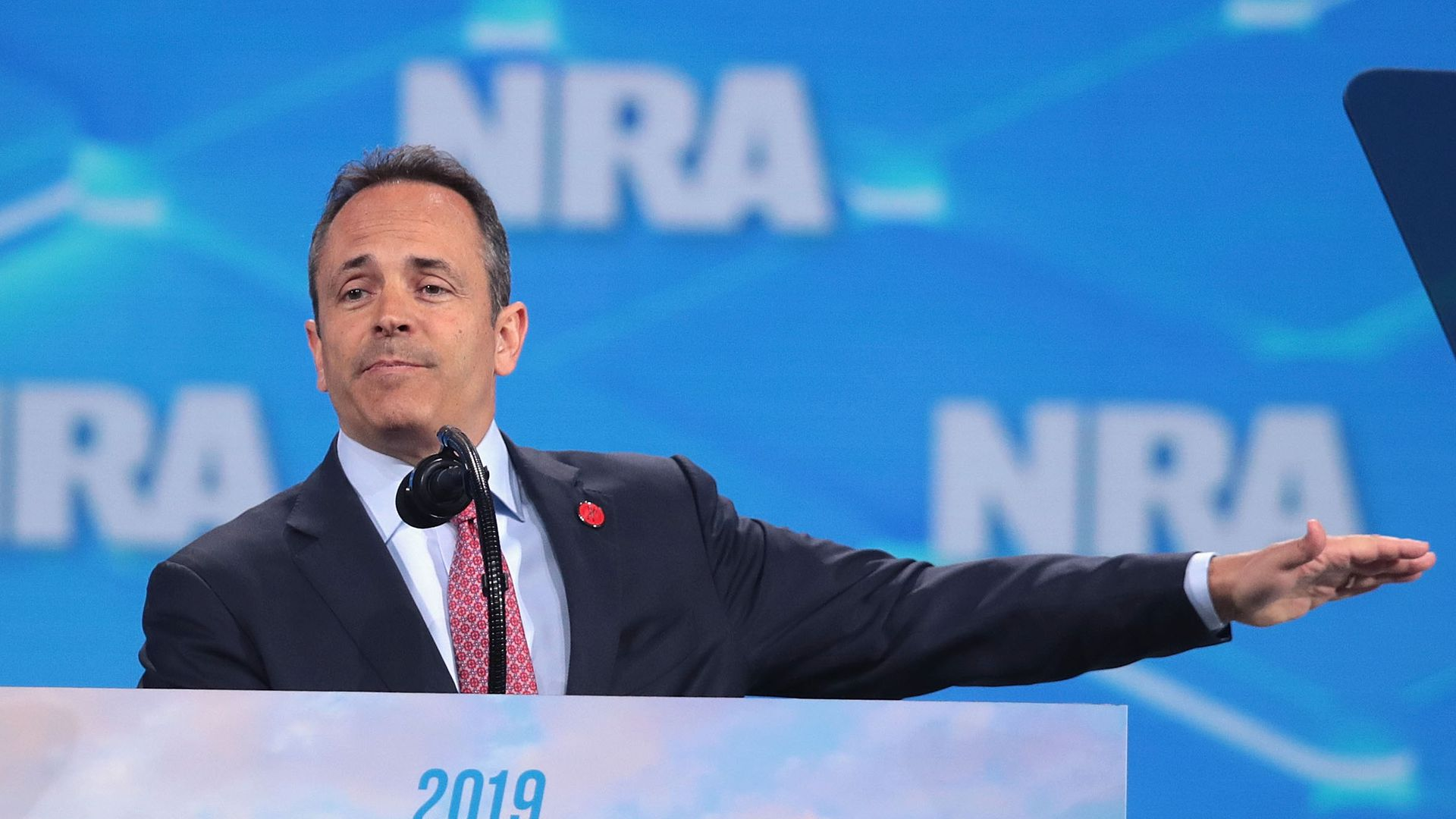 Kentucky governor Matt Bevin speaks to guests during the NRA-ILA Leadership Forum at the 148th NRA Annual Meetings & Exhibits on April 26, 2019 in Indianapolis, Indiana.