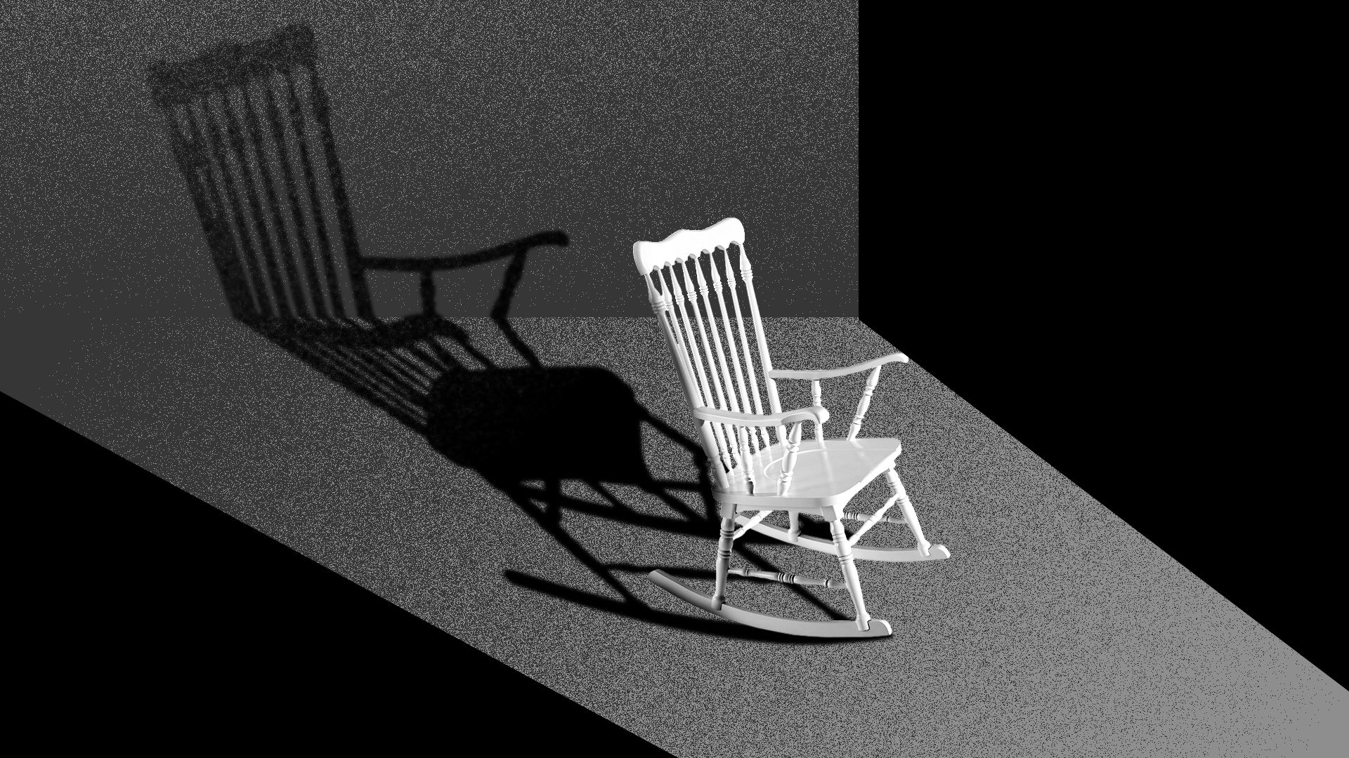 Illustration of a lone rocking chair in a strip of light.