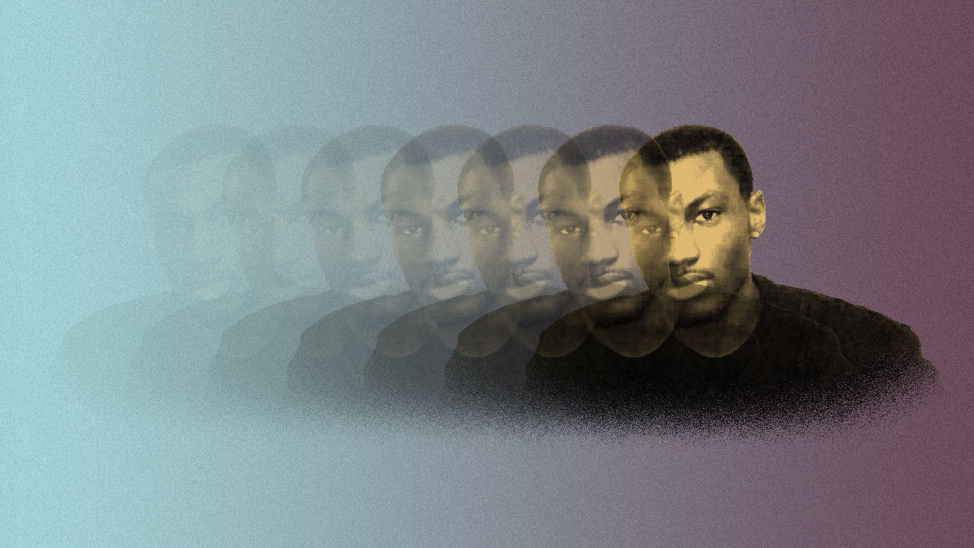 Photo illustration of several images of Mikese Morse, fading from right to left.