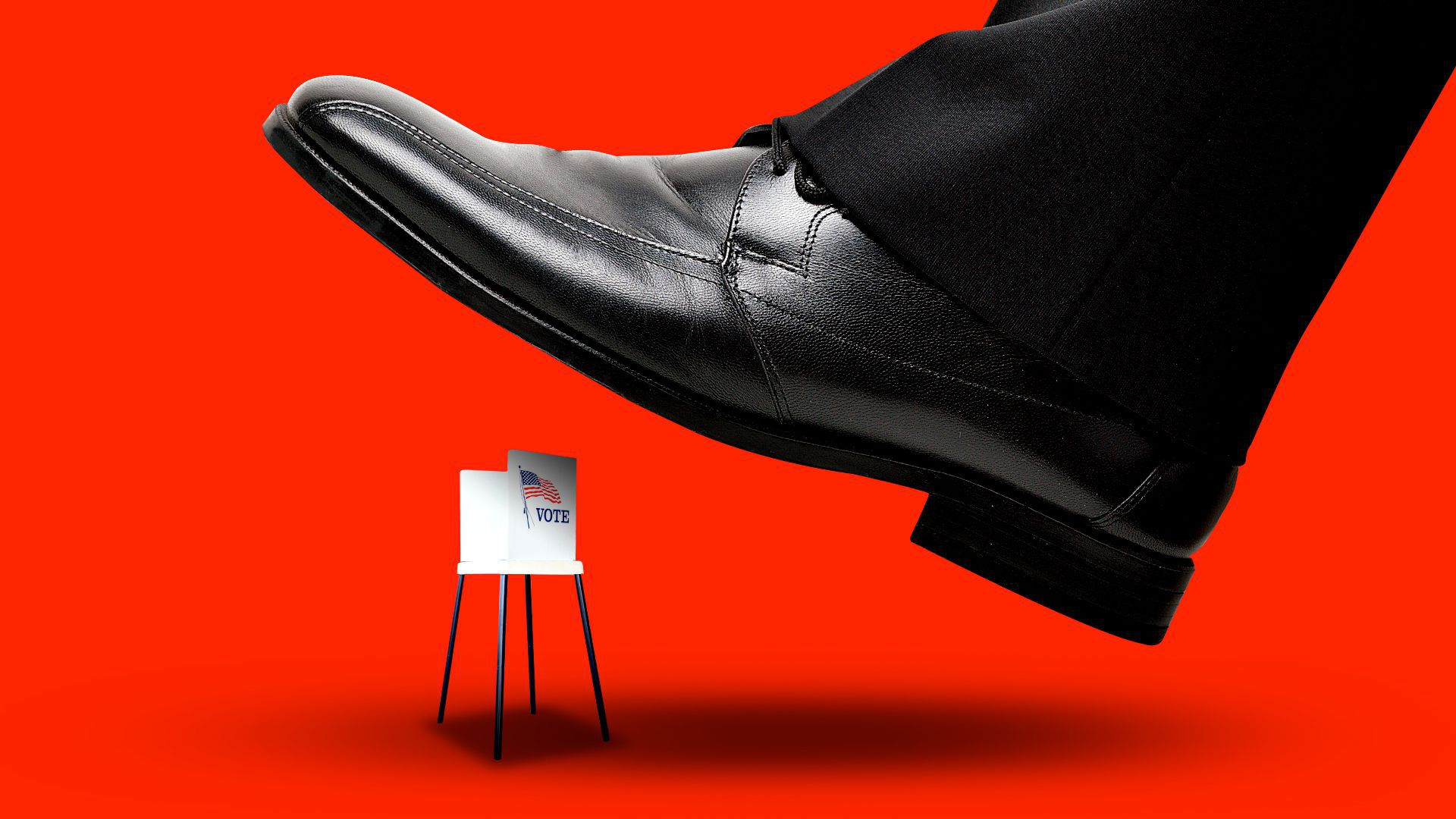 Illustration of a large shoe about to step on a tiny voting booth.