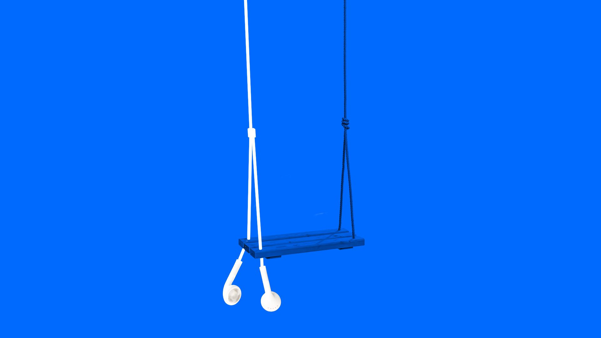Illustration of a child's swing dangling from Apple earbuds