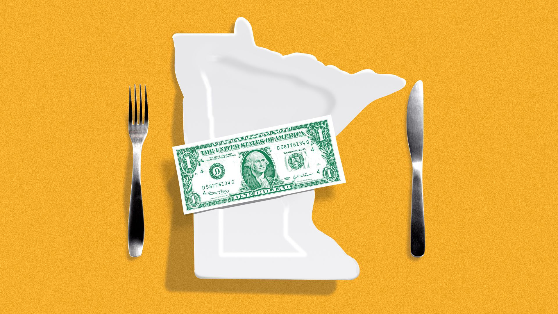 Illustration of a dollar sitting on a plate shaped like the state of Minnesota.