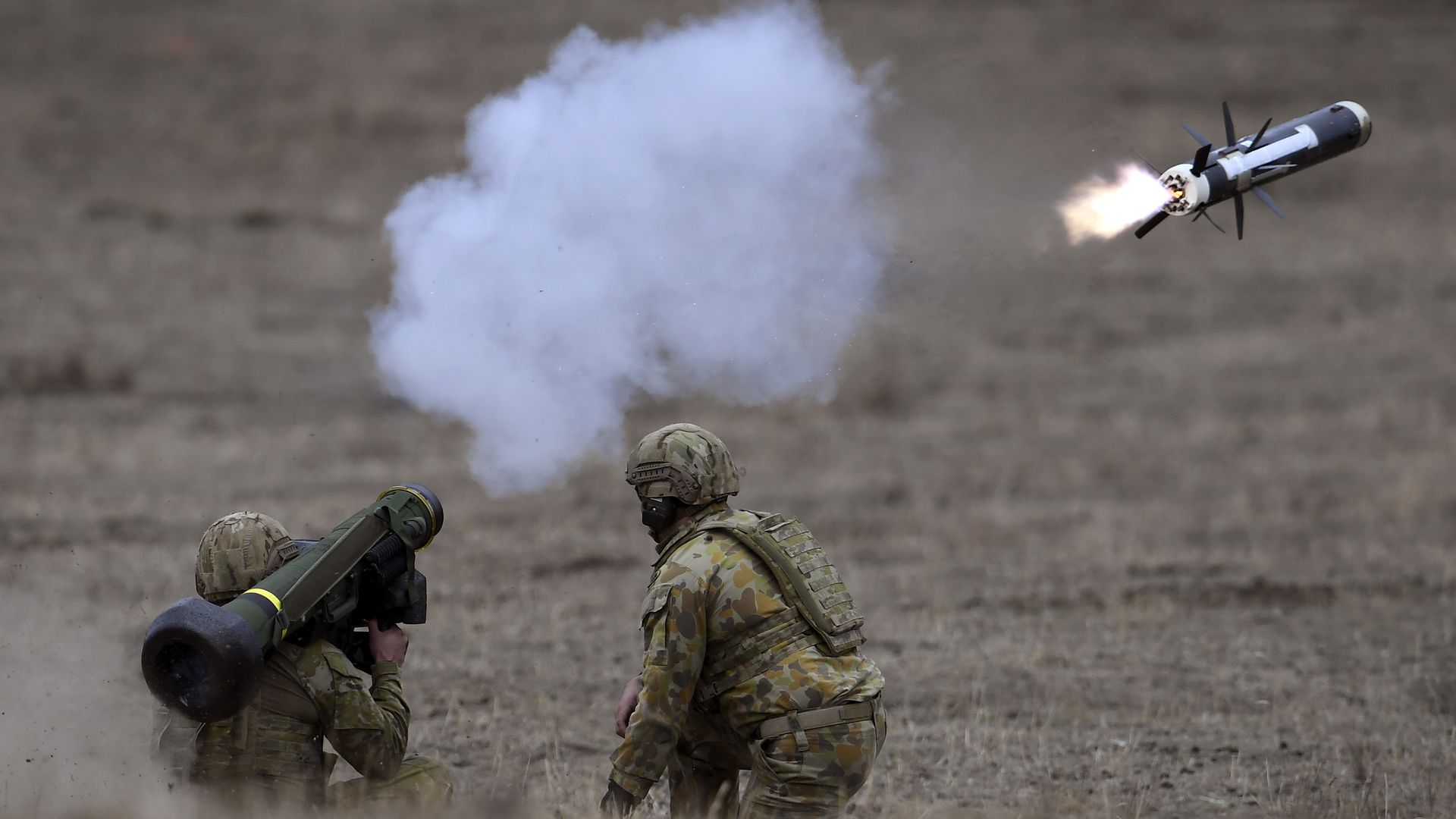 Australian Army soldiers fire a Javelin anti-tank missile during Excercise Chong Ju at the Puckapunyal Military Base some 100 kilometres north of Melbourne on May 9