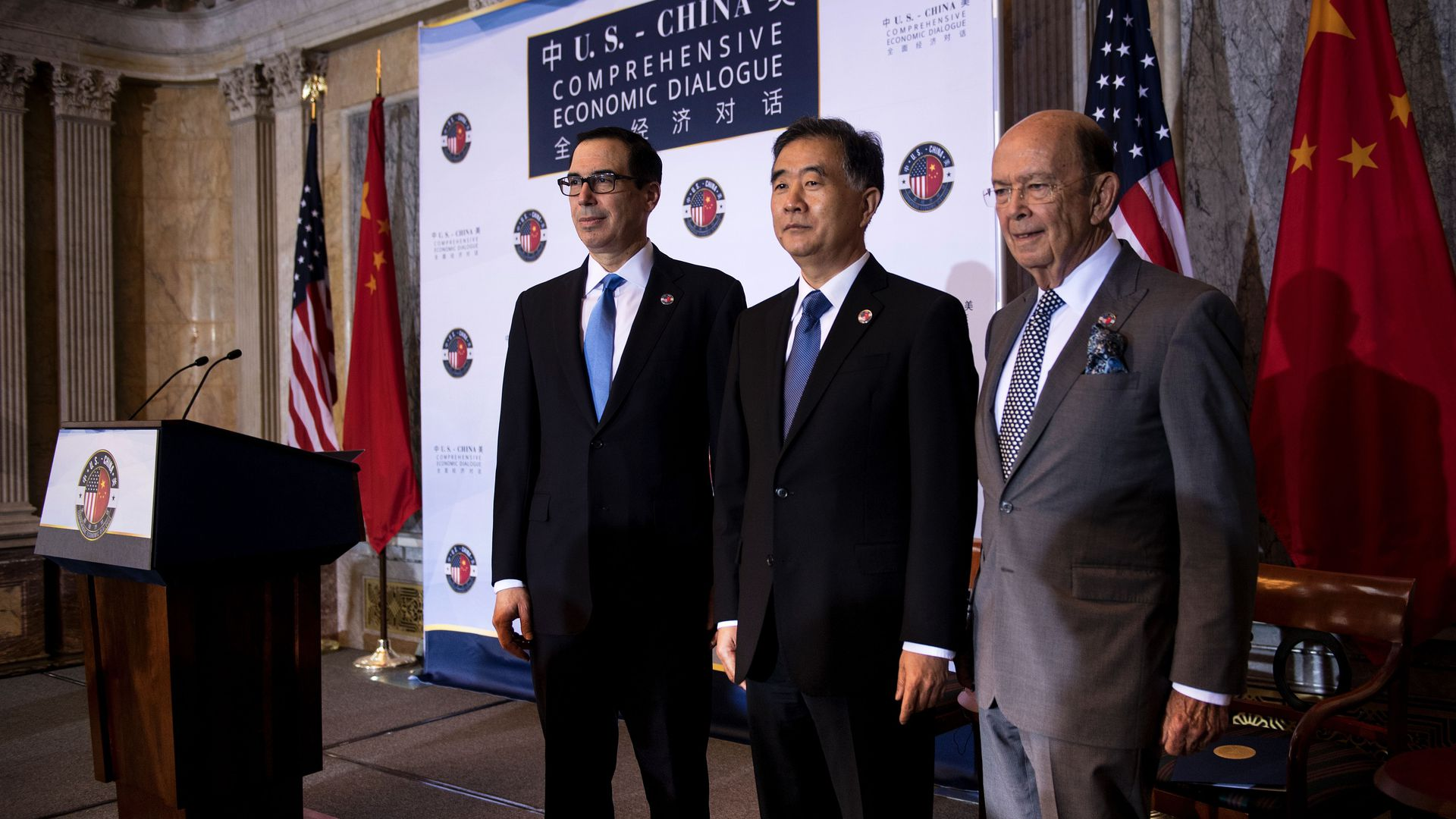 US Secretary of the Treasury Steven Mnuchin, Chinese Vice Premier Wang Yang and US Secretary of Commerce Wilbur Ross pose for a photo