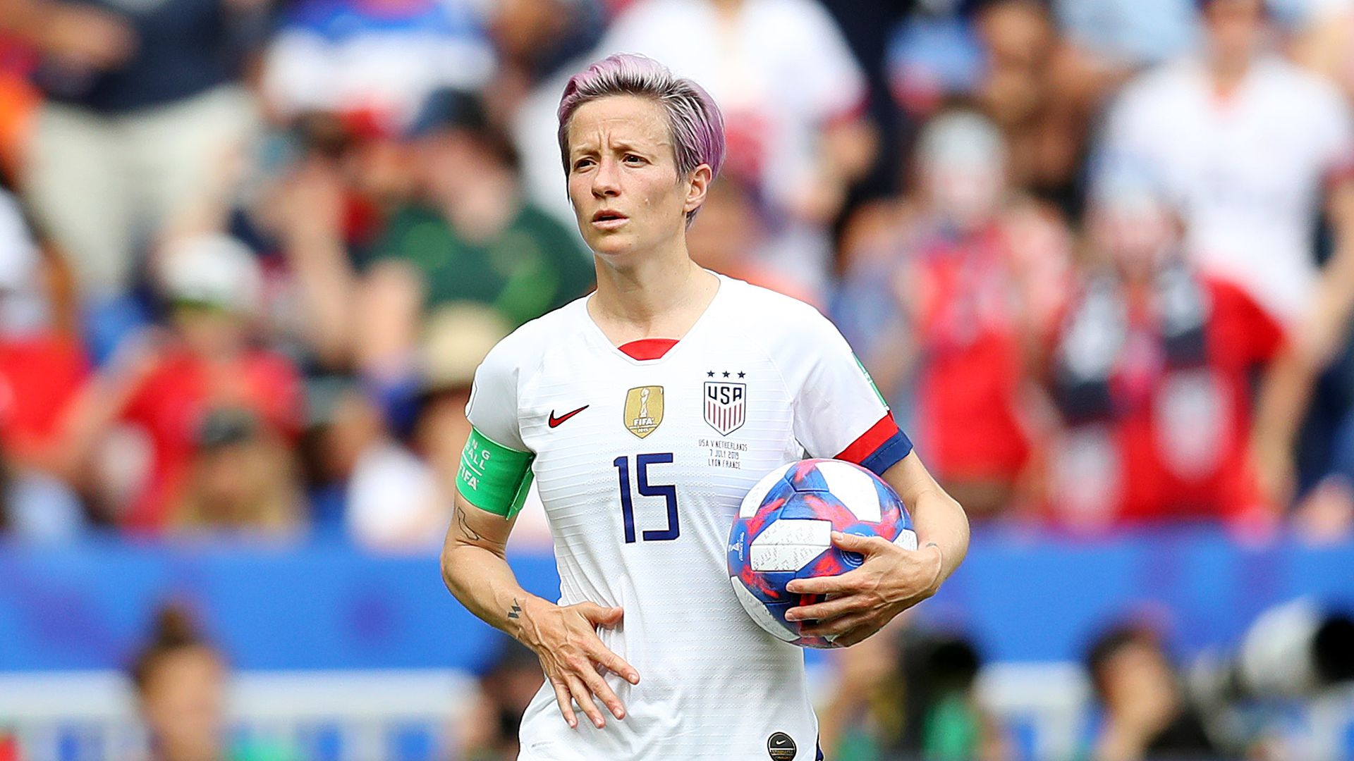 Megan Rapinoe of the USA prepares to take a penalty kick during the 2019 FIFA Women's World Cup France Final match.