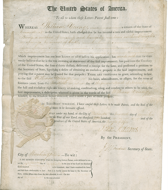 Screenshot of an early U.S. patent