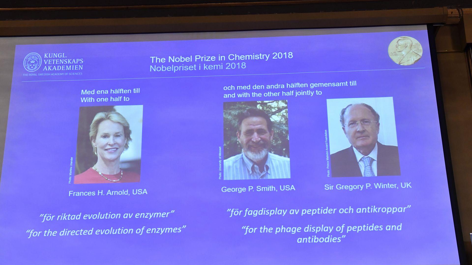 Screen with Nobel winners