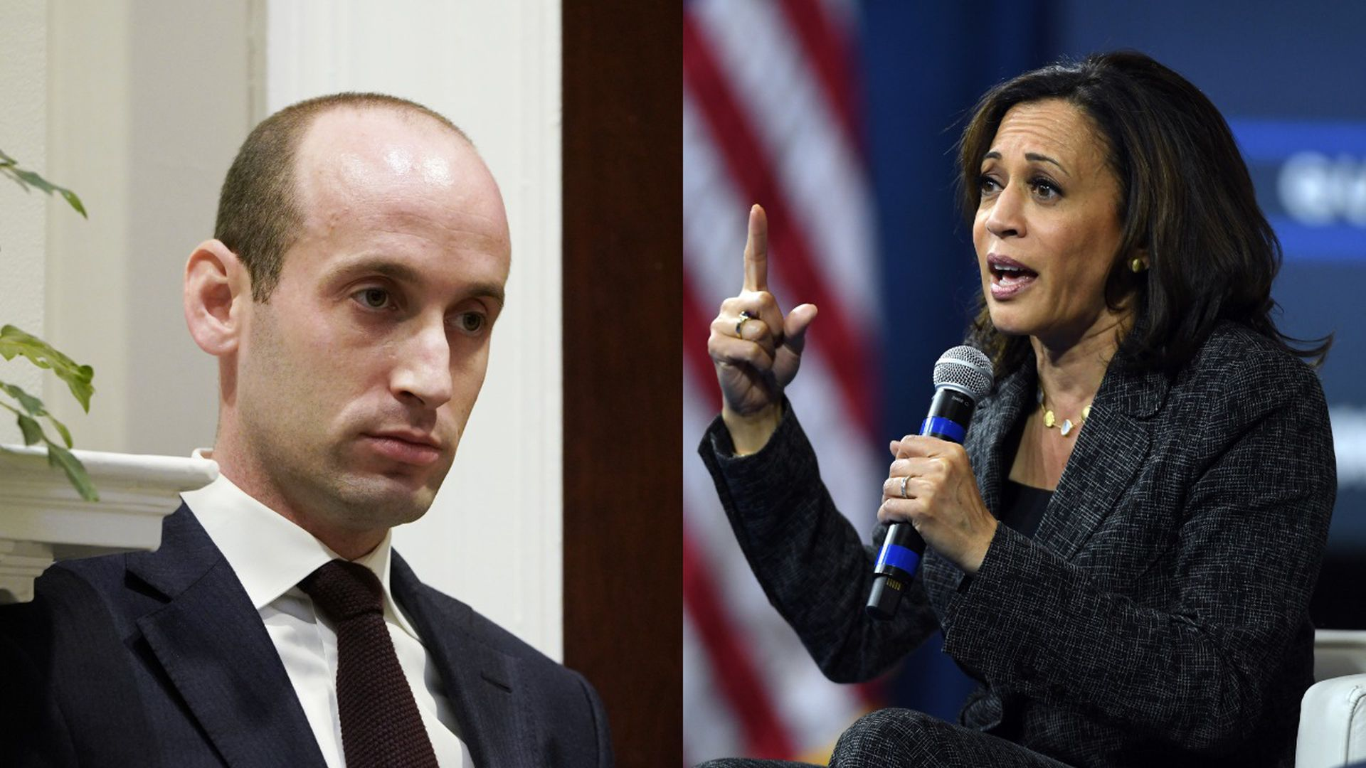 Stephen Miller and Kamala Harris