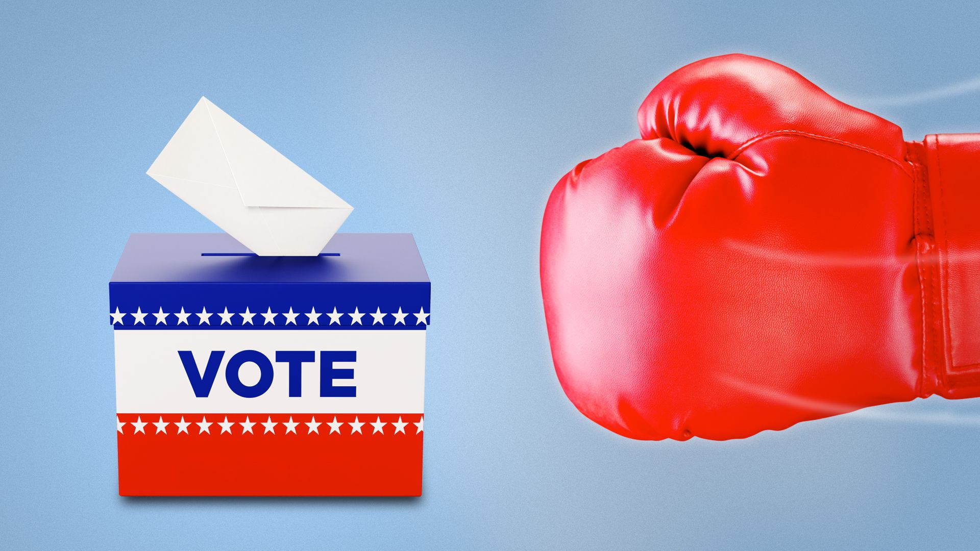 Boxing glove about to punch a ballot box.