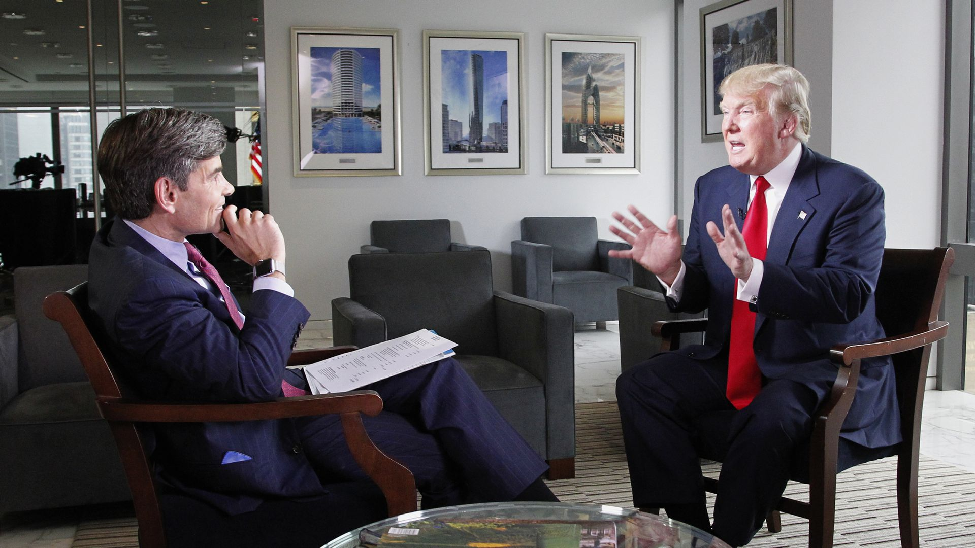 ABC's George Stephanopoulos first interviewing President Donald Trump in 2015