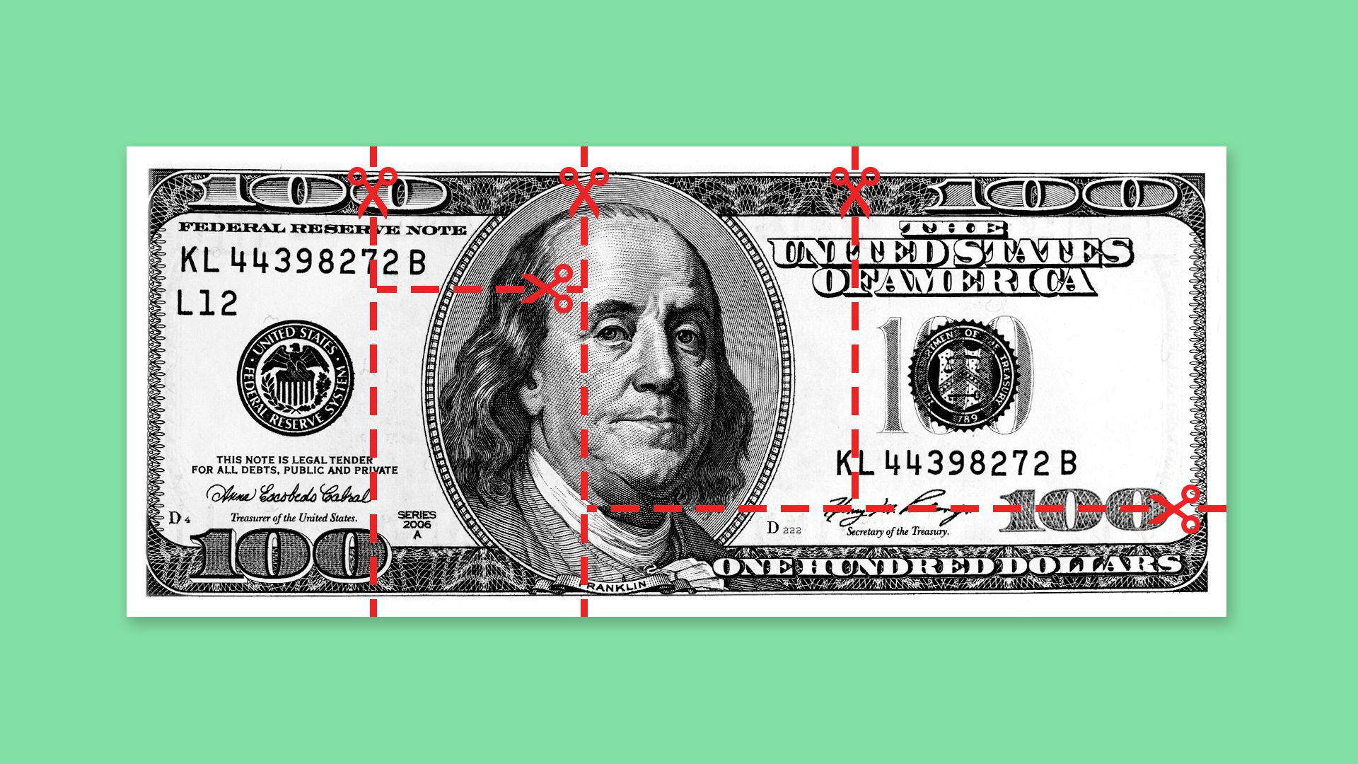 Illustration of a hundred dollar bill with cut lines dividing it up into pieces.