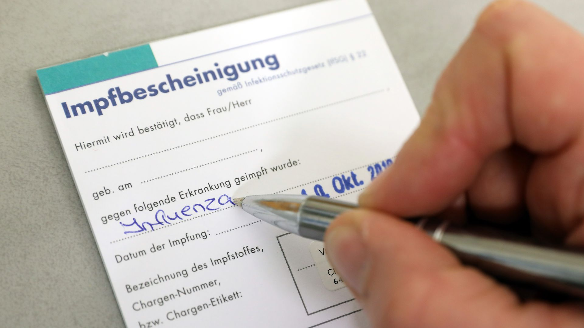 German vaccination certificate for the flu