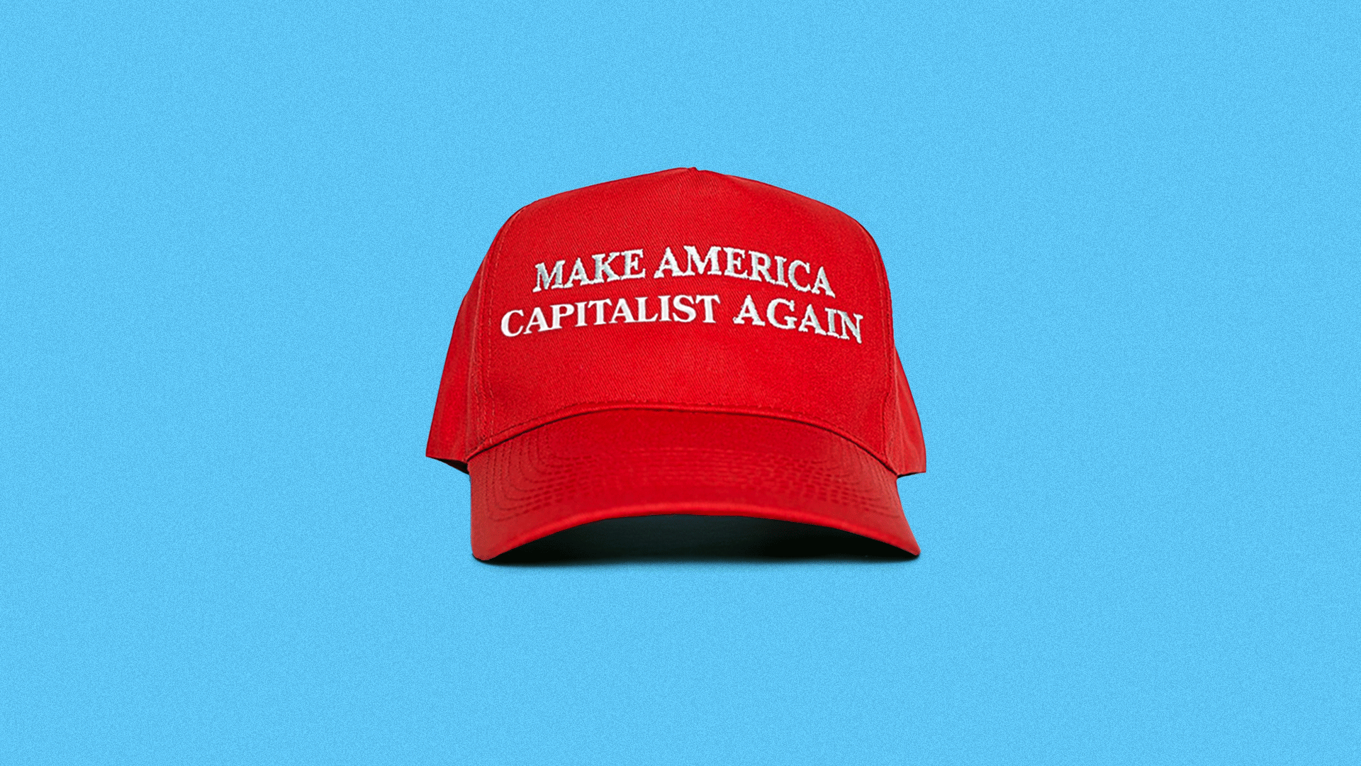 """Illustration of a MAGA hat that reads, """"Make America Capitalist Again"""""""