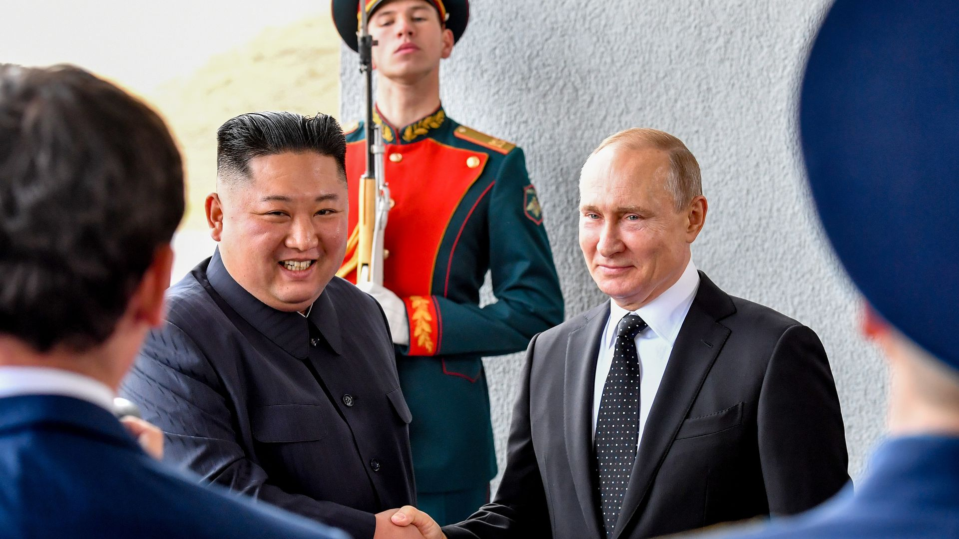 Russian President Vladimir Putin and North Korean leader Kim Jong Un meet for the first time.