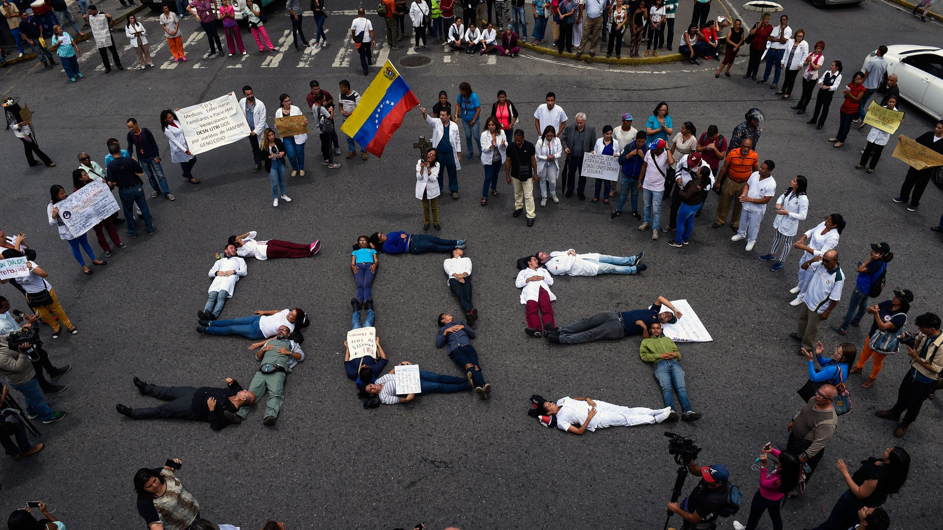 Venezuela protestors form SOS with their bodies