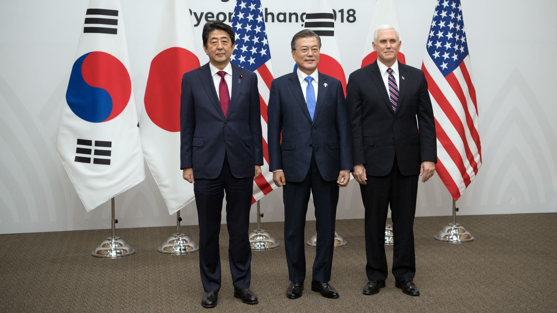 Mike Pence, Shinzo Abe, Moon Jae-in