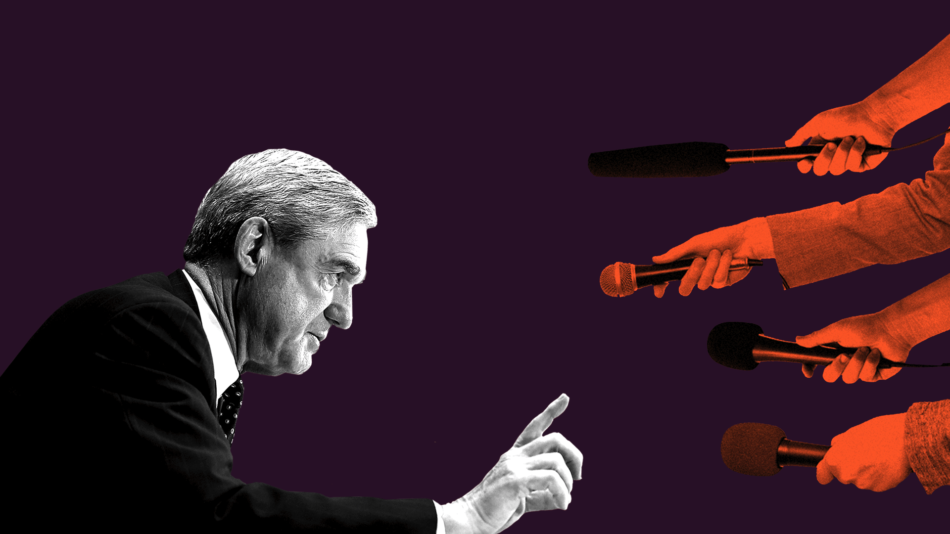 Illustration and composite image of Robert Mueller gesturing for patience to the press.