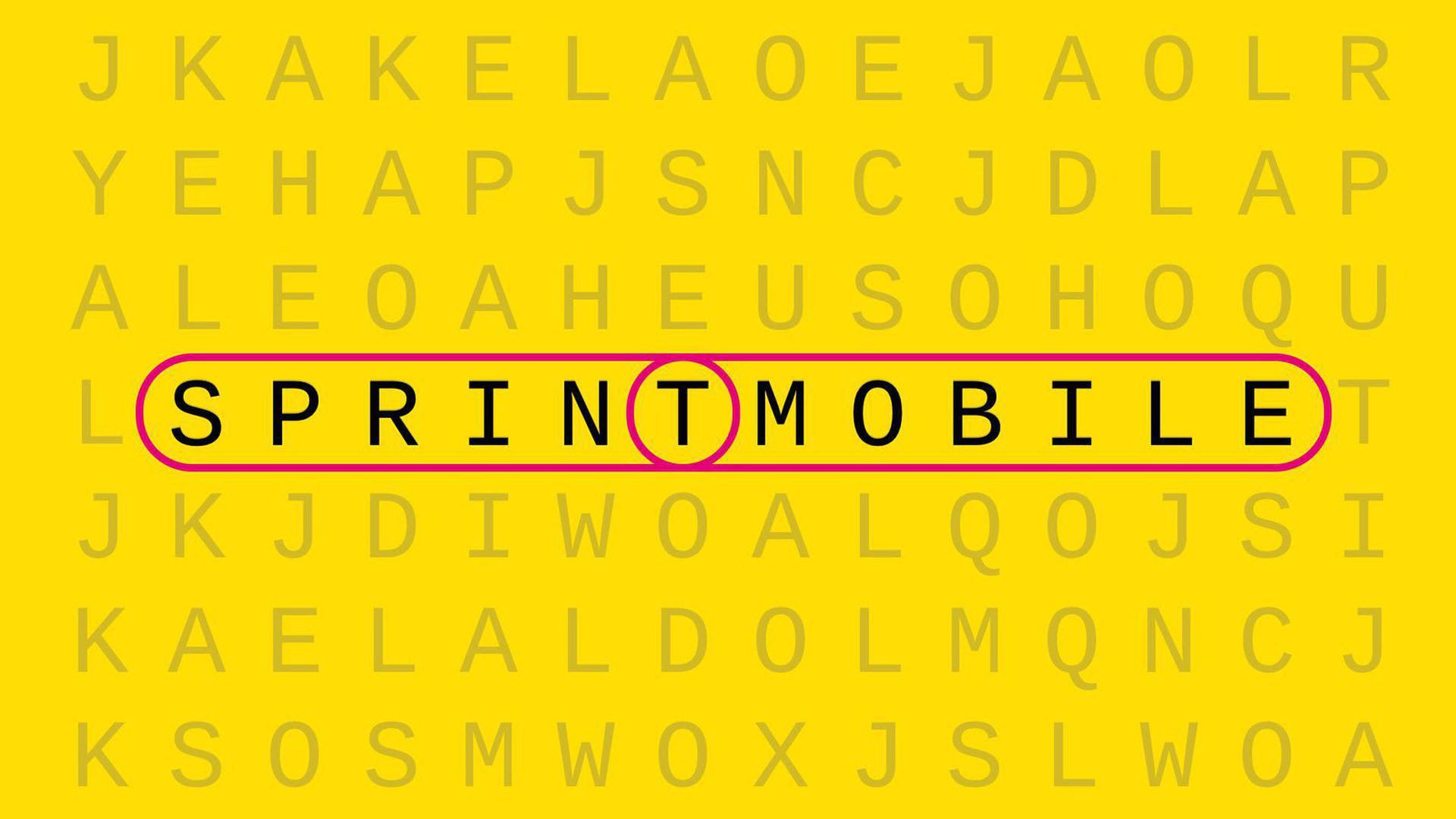 The letters Sprint and T-mobile layed out as if they were on a crossword puzzle in an illustration.