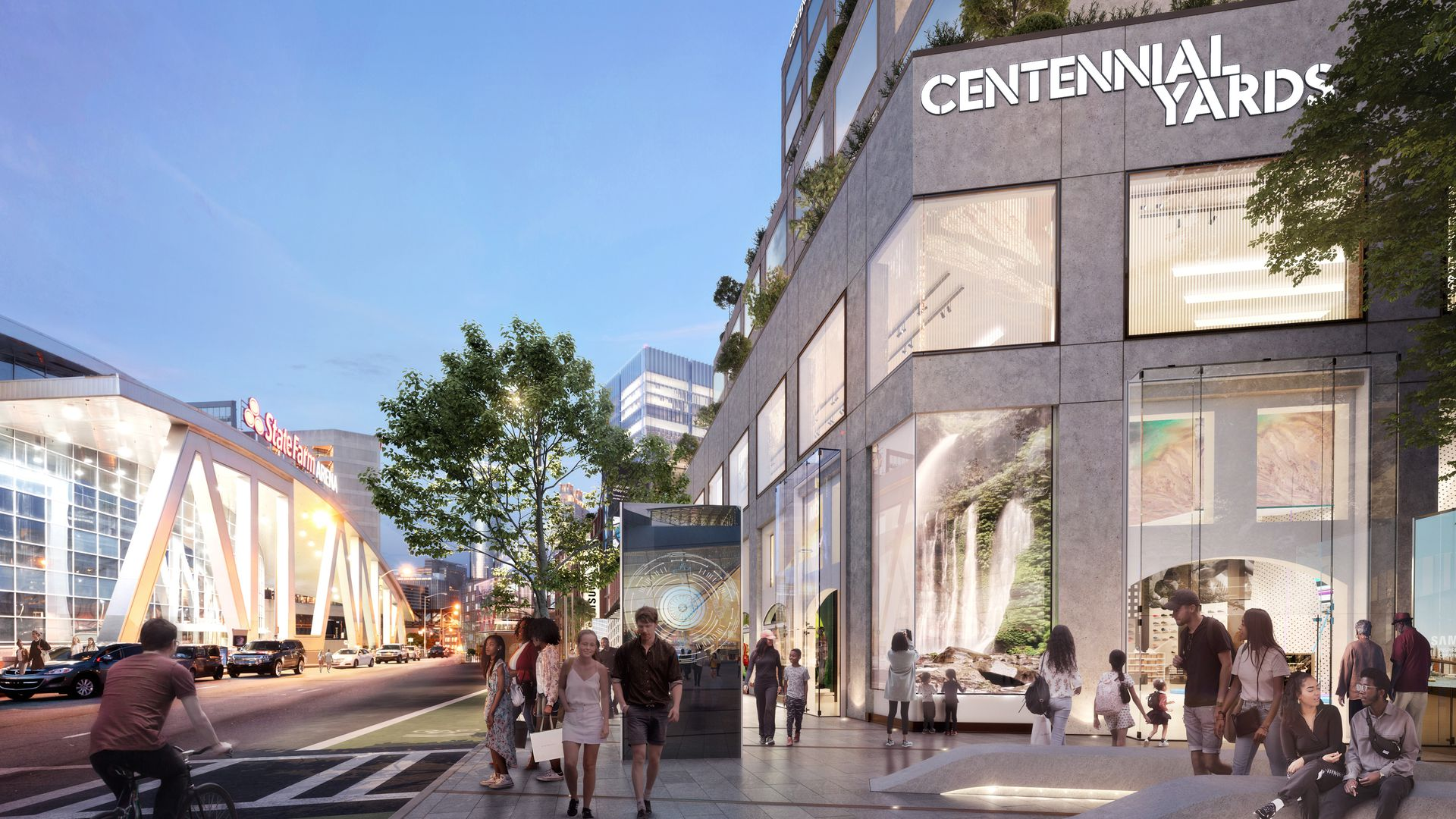A rendering showing people biking and walking in the early at a proposed mixed-use development near State Farm Arena